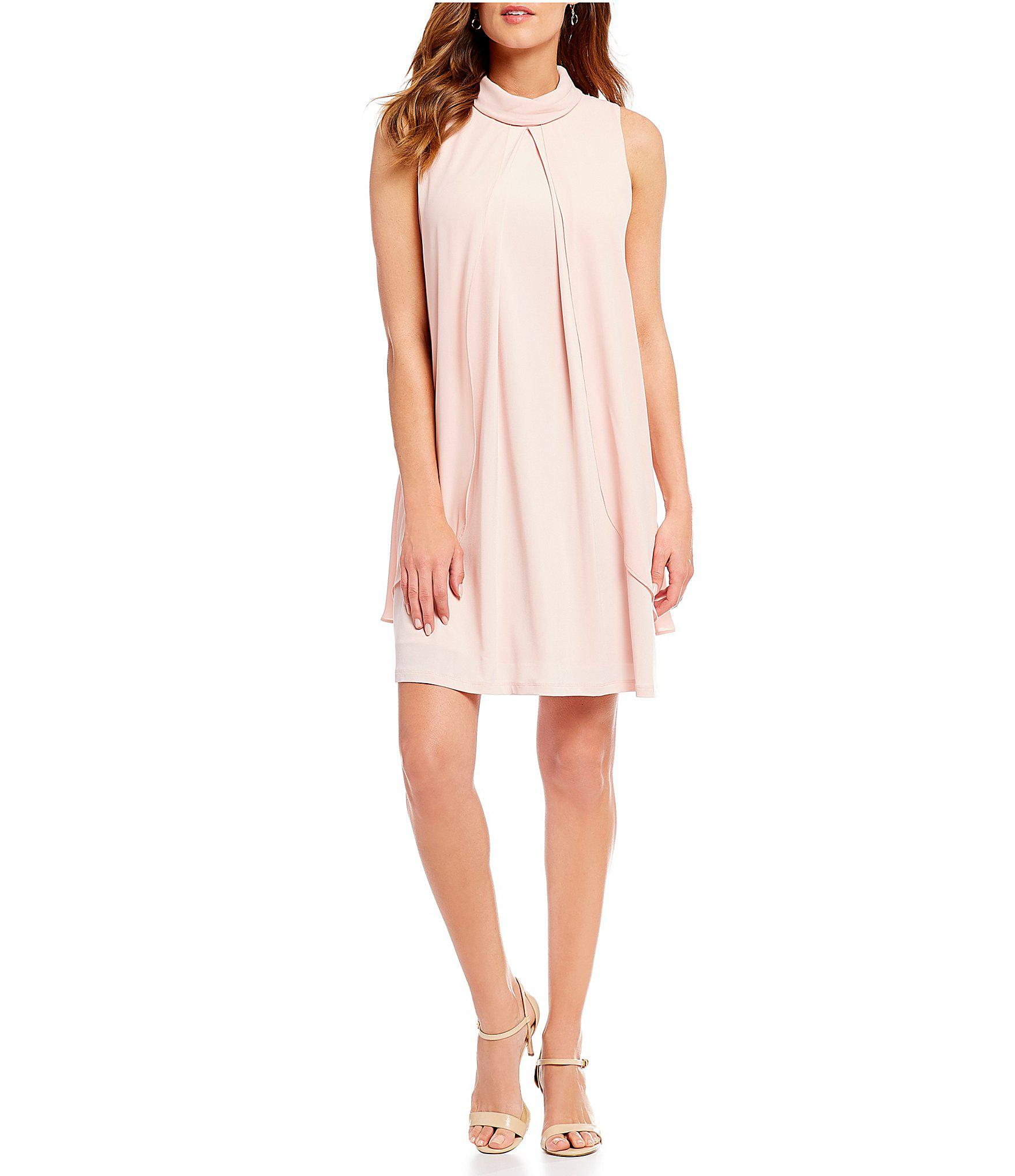 0c9e88a33c5 Ivanka Trump Chiffon Mock Neck Trapeze Dress in Pink - Lyst