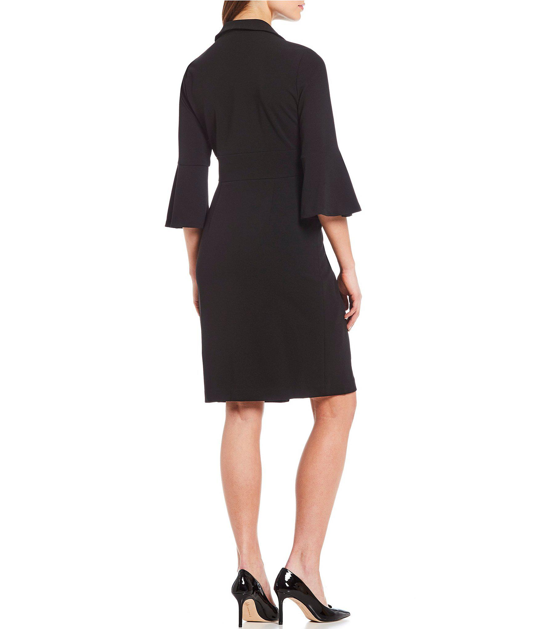 b8d022d89c5 Lyst - Ivanka Trump Bell Sleeve Collared Wrap Dress in Black