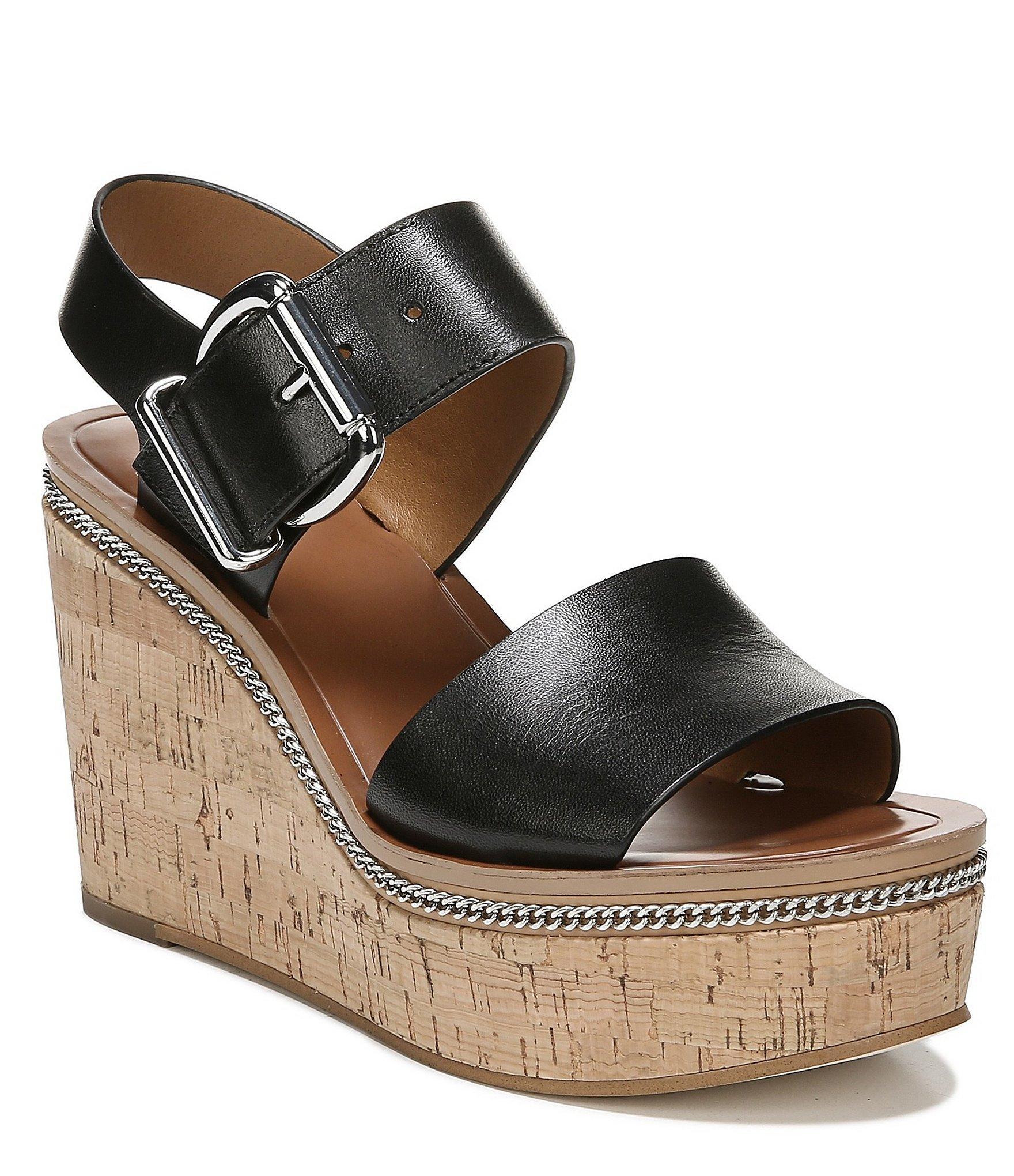 6f887c3eb53b Franco Sarto Sarto By Polly Leather Platform Wedge Sandals in Black ...