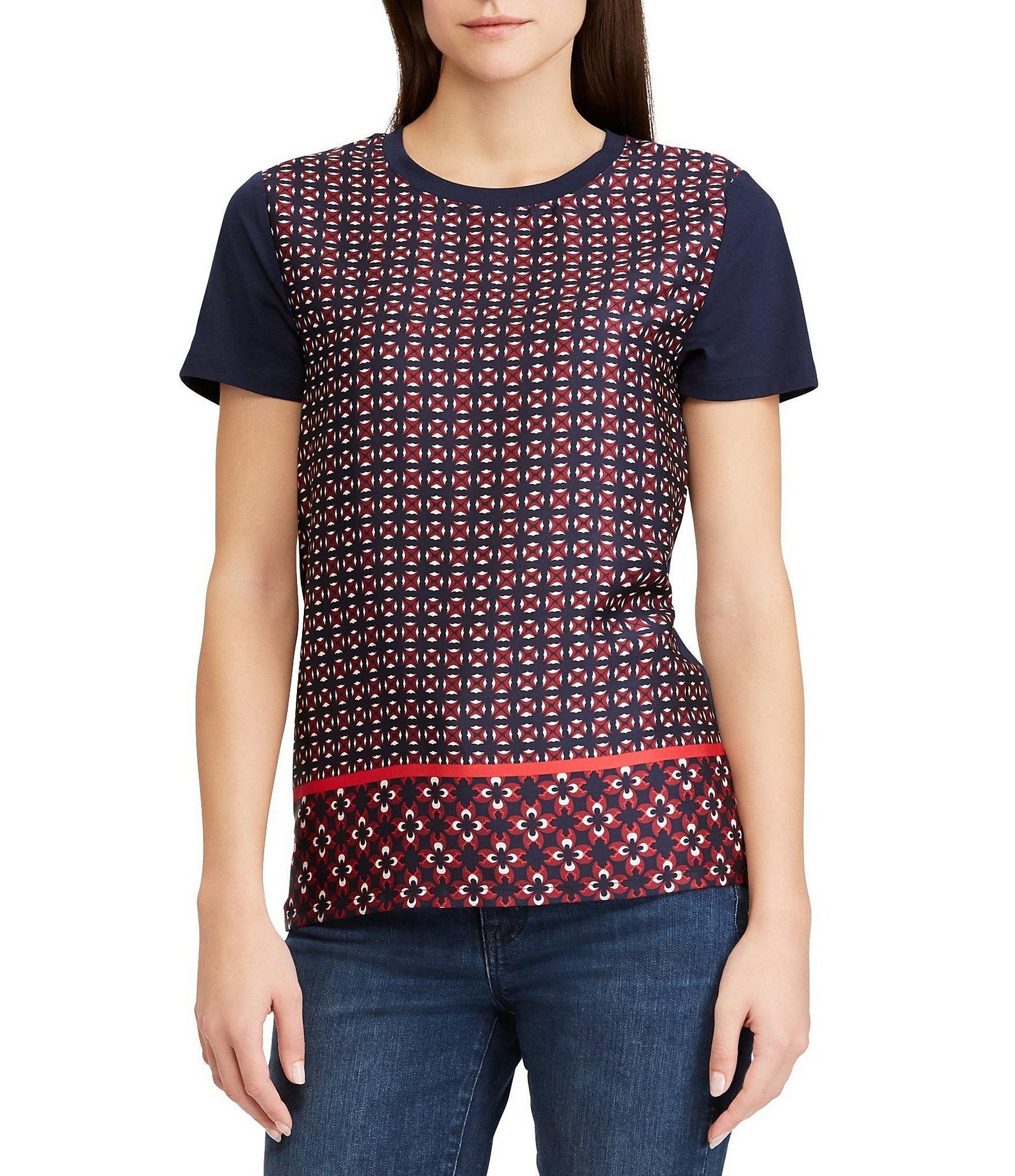a2f4f52d570ffb Lyst - Lauren By Ralph Lauren Mixed Media Geometric-print T-shirt in ...