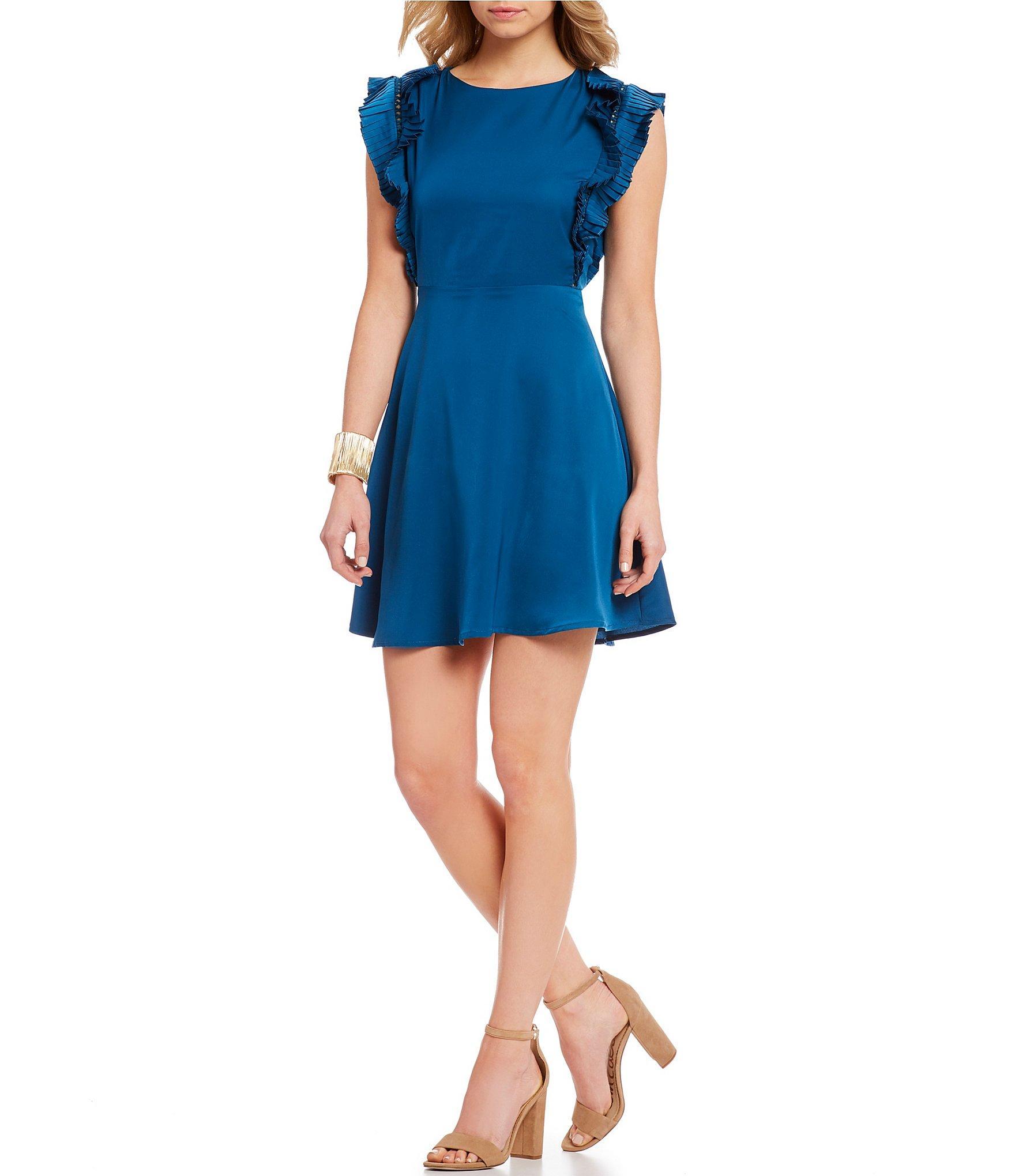 c660e85df3 Lyst - Sugarlips Ruffle Shoulder A-line Dress in Blue