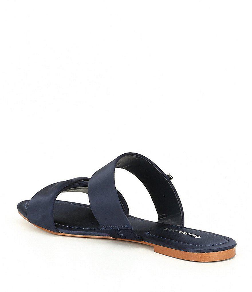 Lewisa Rhinestone Satin Double Banded Flat Sandals YAl3WHxM5y