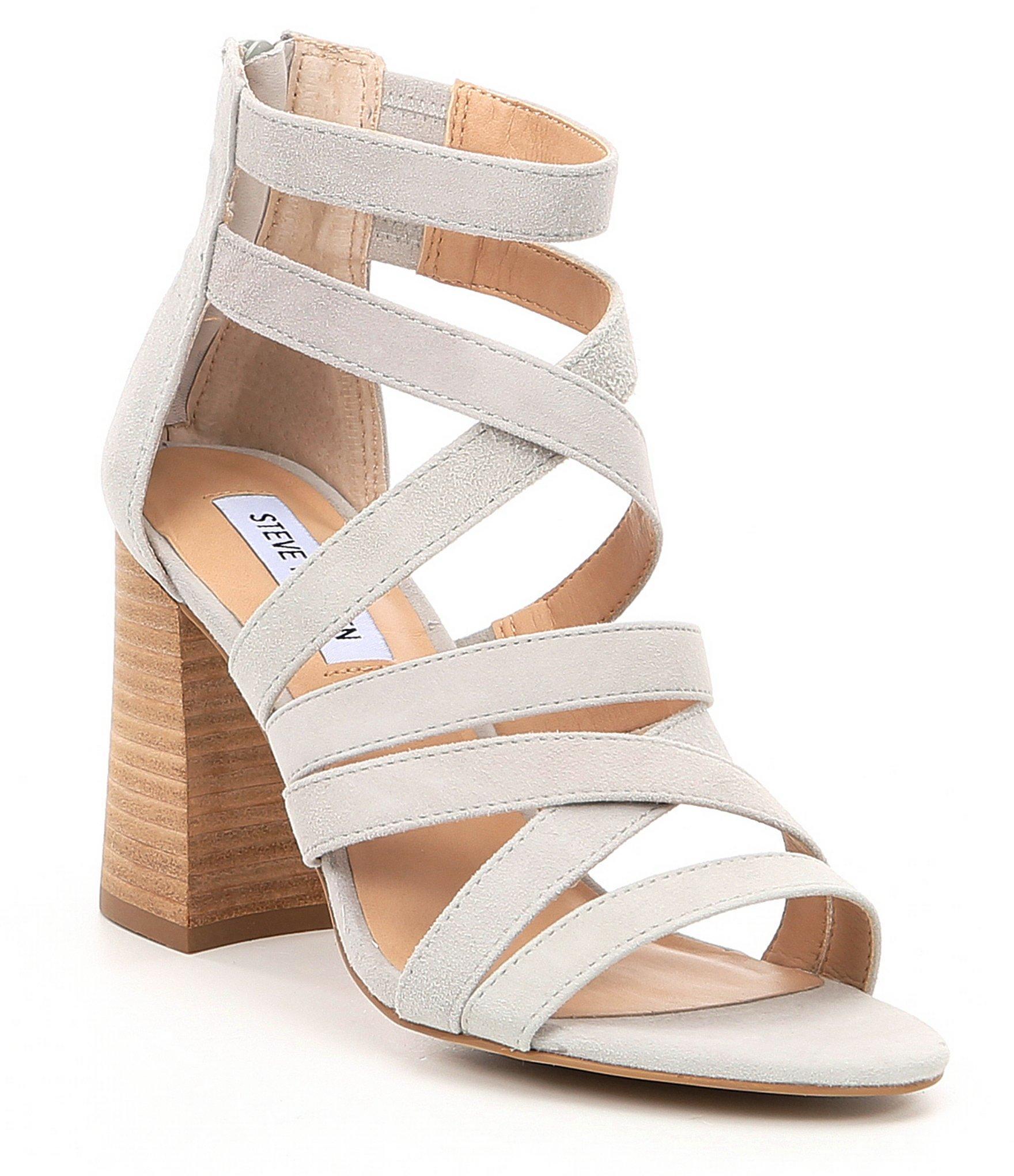 cdbbcca6444 Lyst - Steve Madden July Suede Block Heel Sandals in Gray