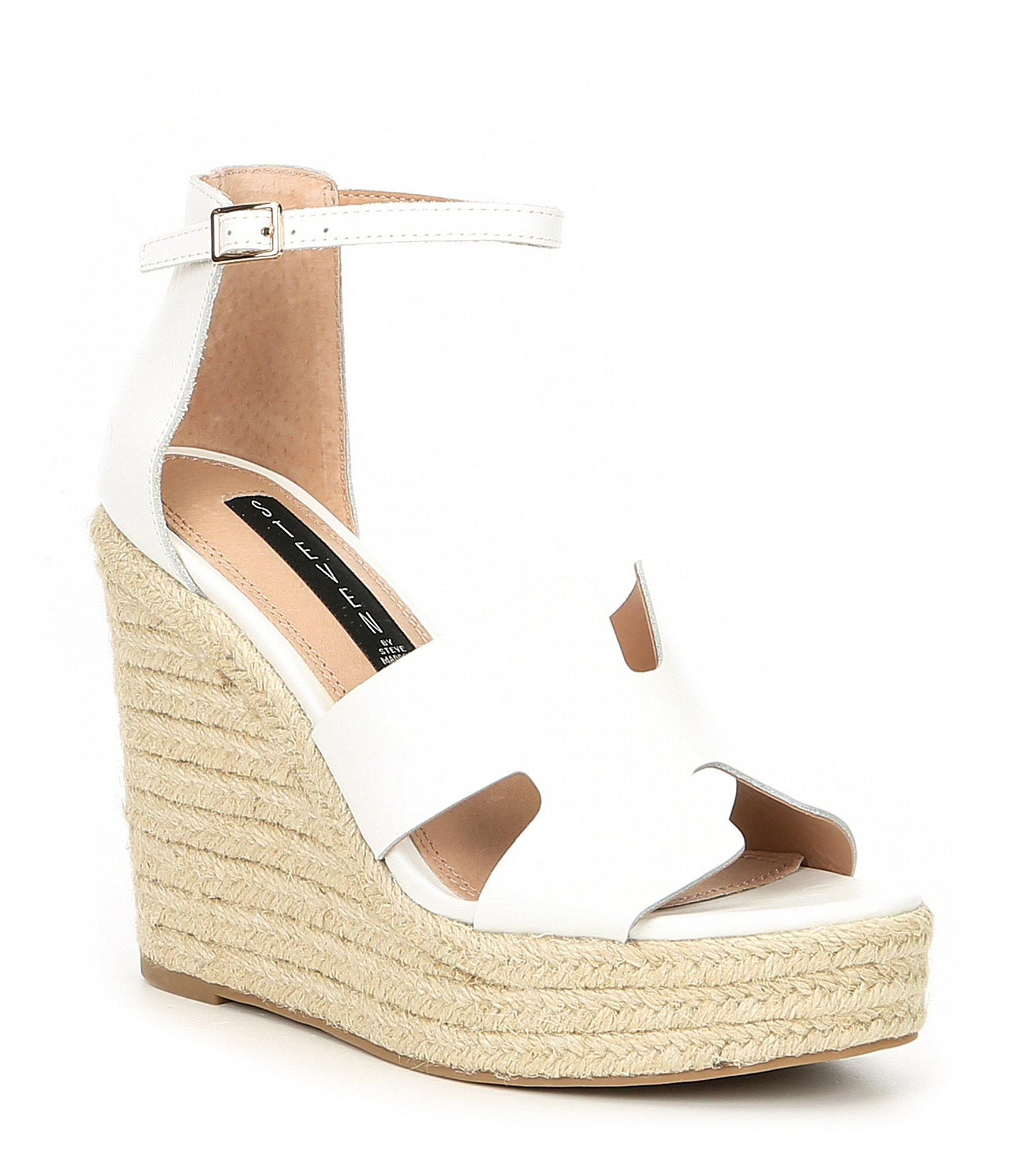 3d8acf6ecbd Women's White Steven By Sirena Leather Espadrille Wedge Sandals