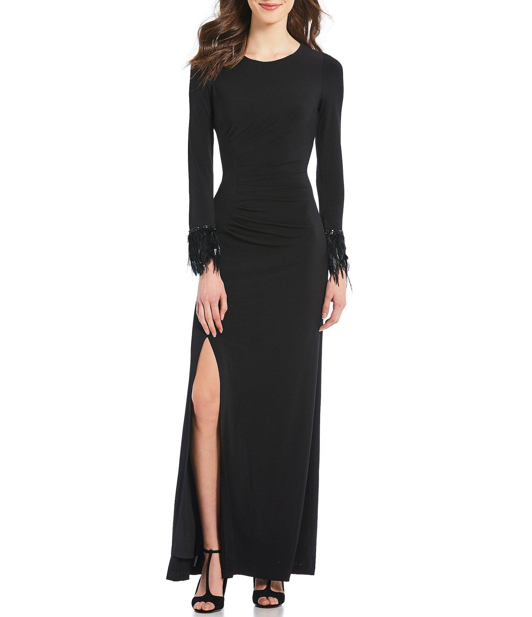 6a85cc62b41 Calvin Klein Side Slit Faux Feather Cuff Gown in Black - Lyst