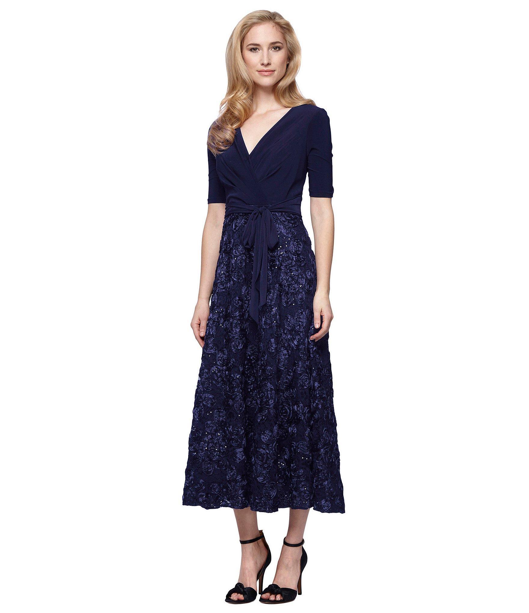 c9f393dc6d Lyst - Alex Evenings Tea-length Rosette Skirt Party Dress in Blue