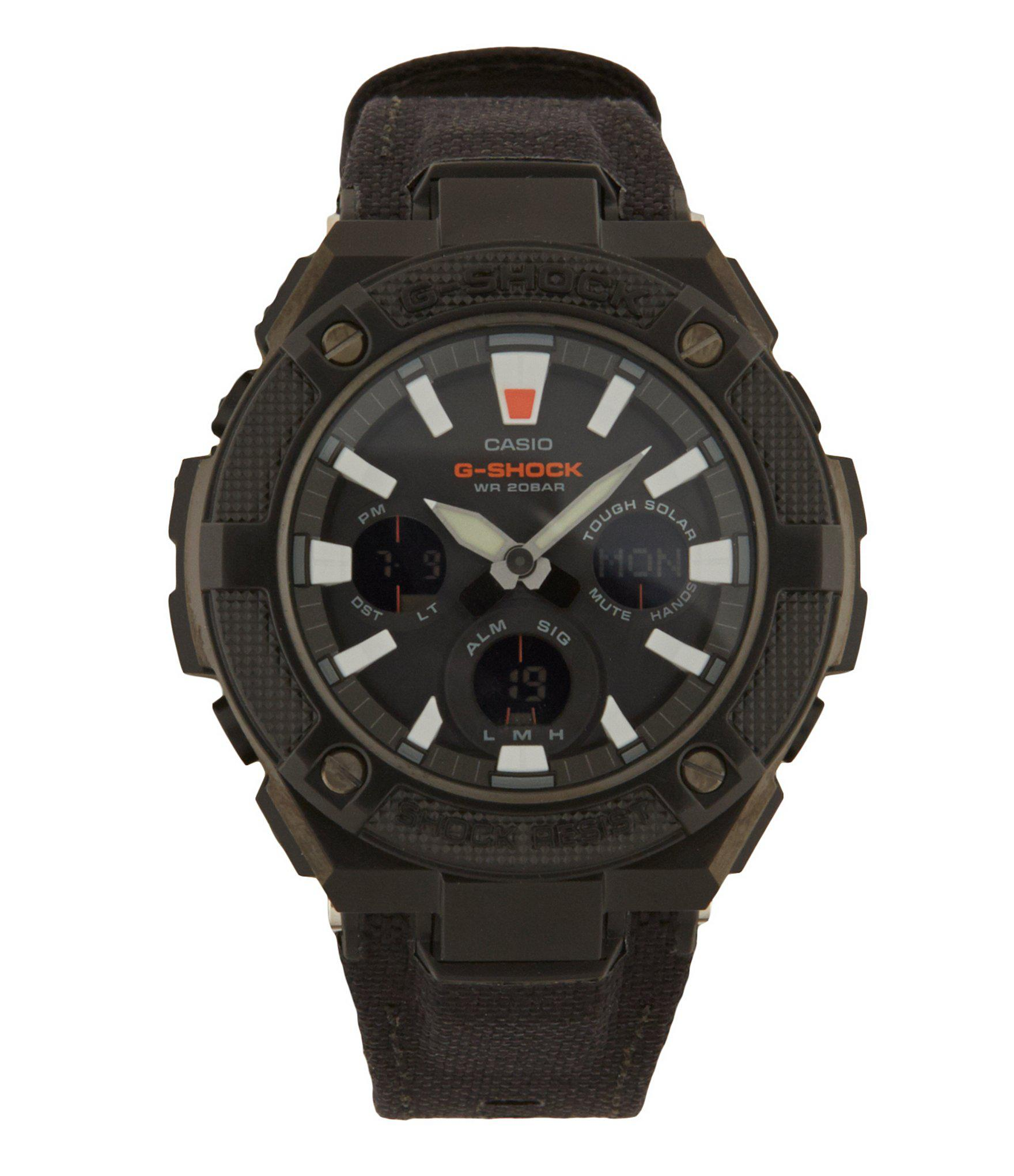 Men S Solar Ana Digi G Steel Black Cordura Leather Strap Watch