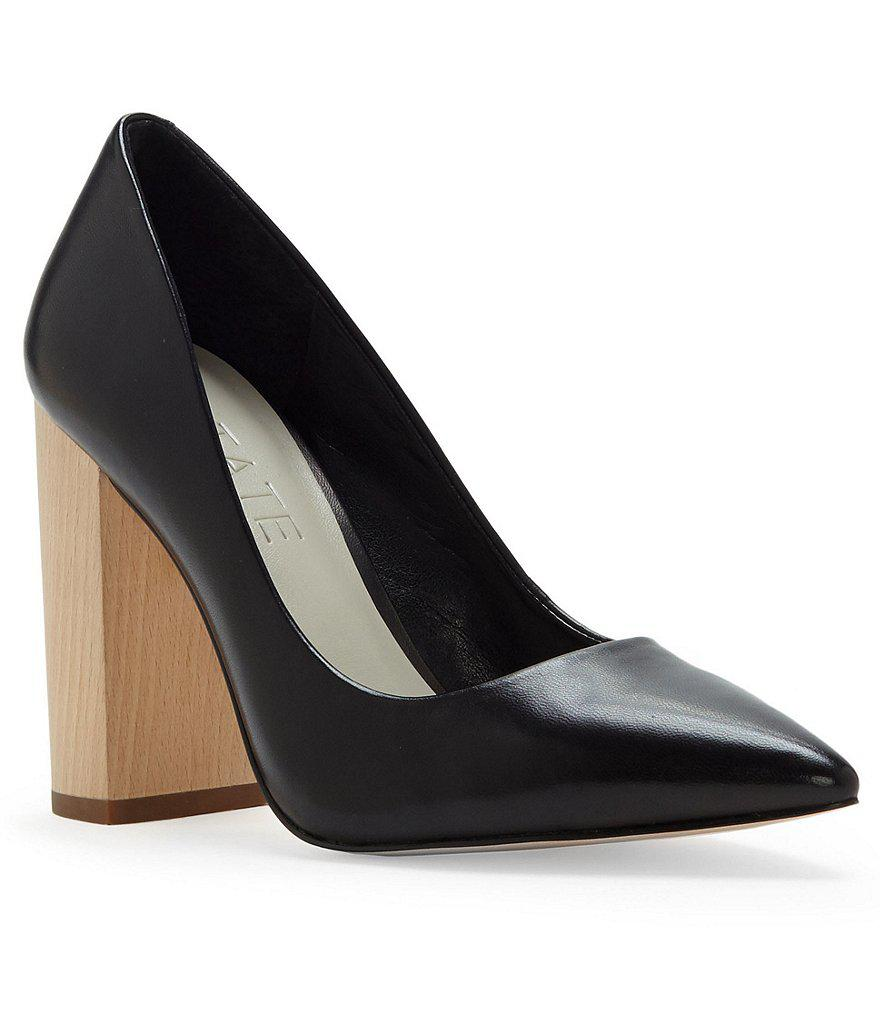 Lyst - 1.STATE Valencia Nappa Leather Pointed Toe Wood Block Heel ... f9ae57fb9