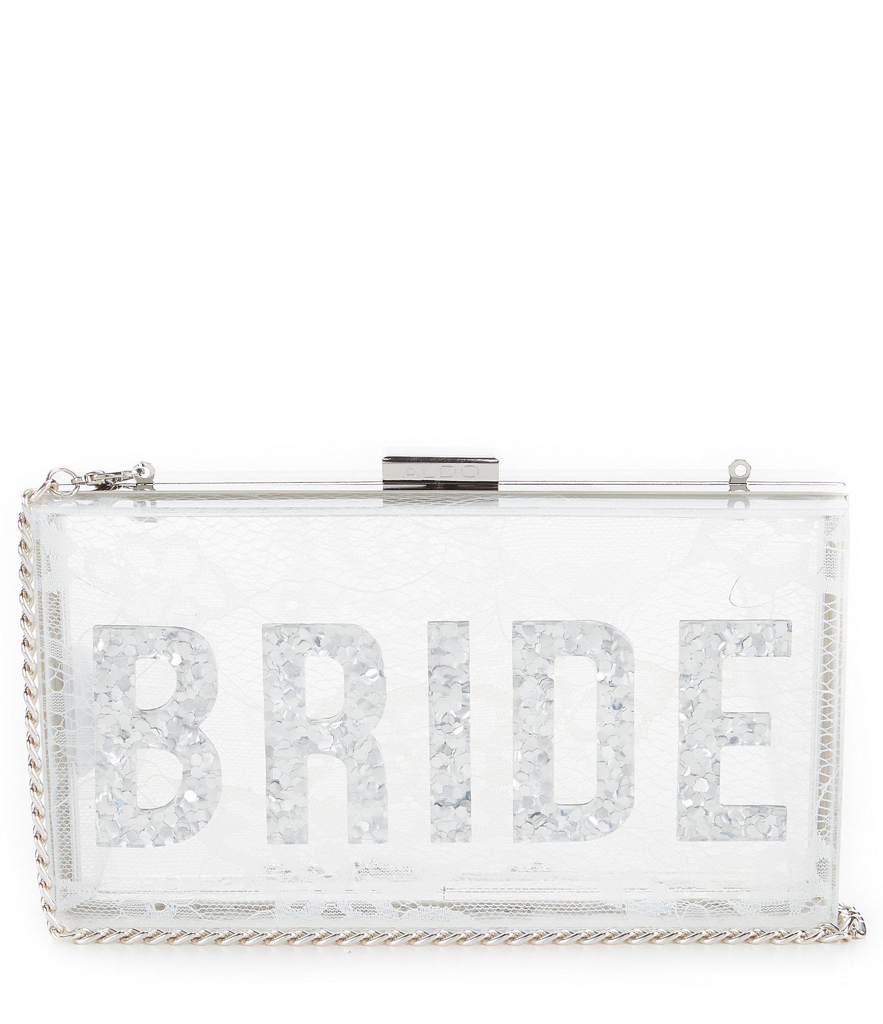91f740827a7 ALDO White Lillooet Lucite Bride Clutch