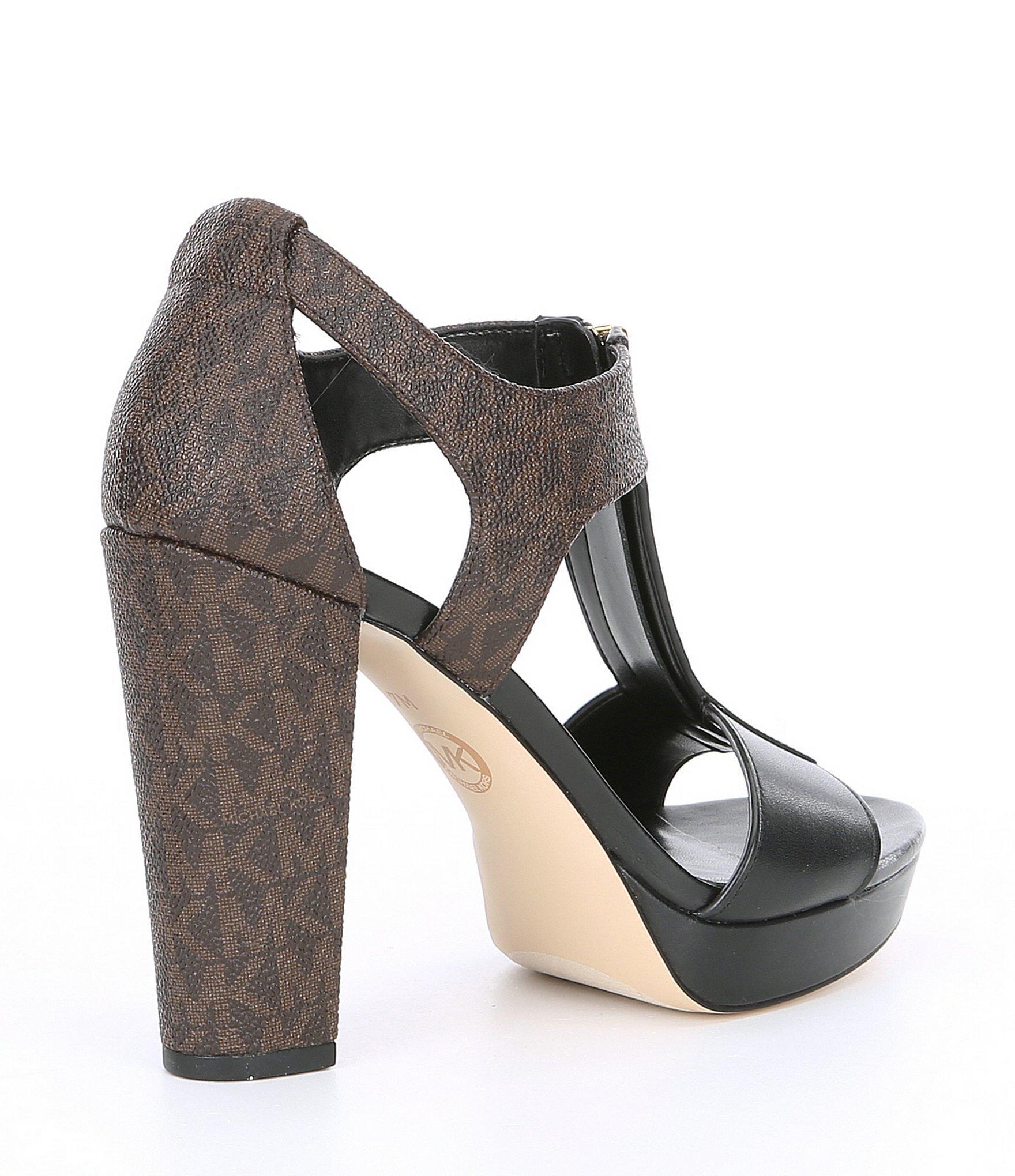 7a9d76b7578e MICHAEL Michael Kors - Black Mk Logo Berkley Leather Block Heel Sandals -  Lyst. View fullscreen