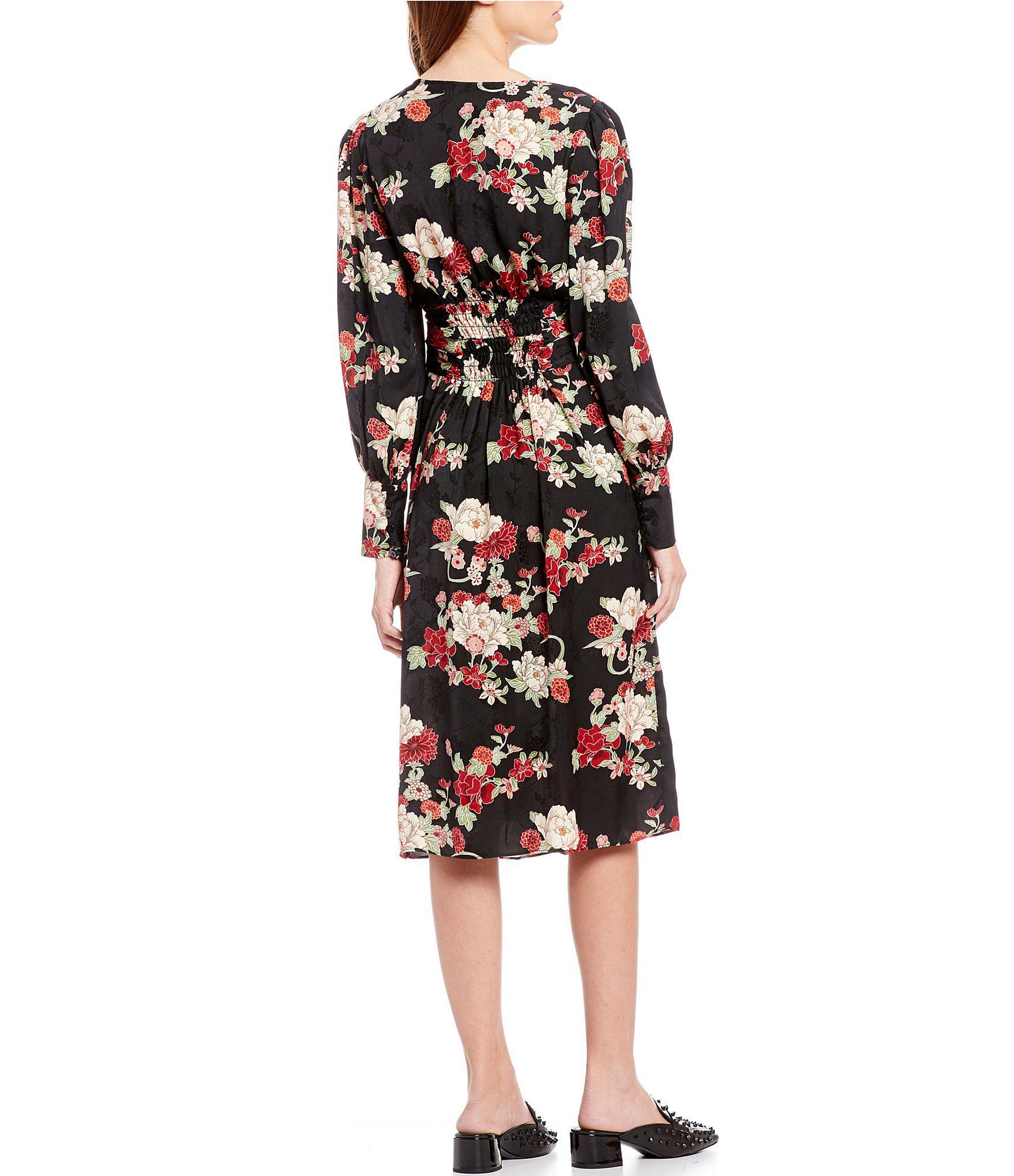 96e92bceaa Chelsea   Violet - Black Floral Printed Jacquard Wrap Style Midi Dress -  Lyst. View fullscreen