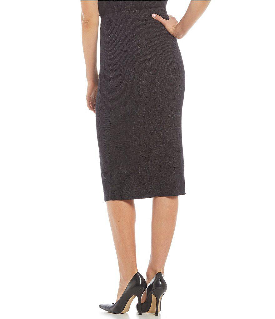 Guess Printed Ribbed Knit Midi Sweater Skirt in Black | Lyst