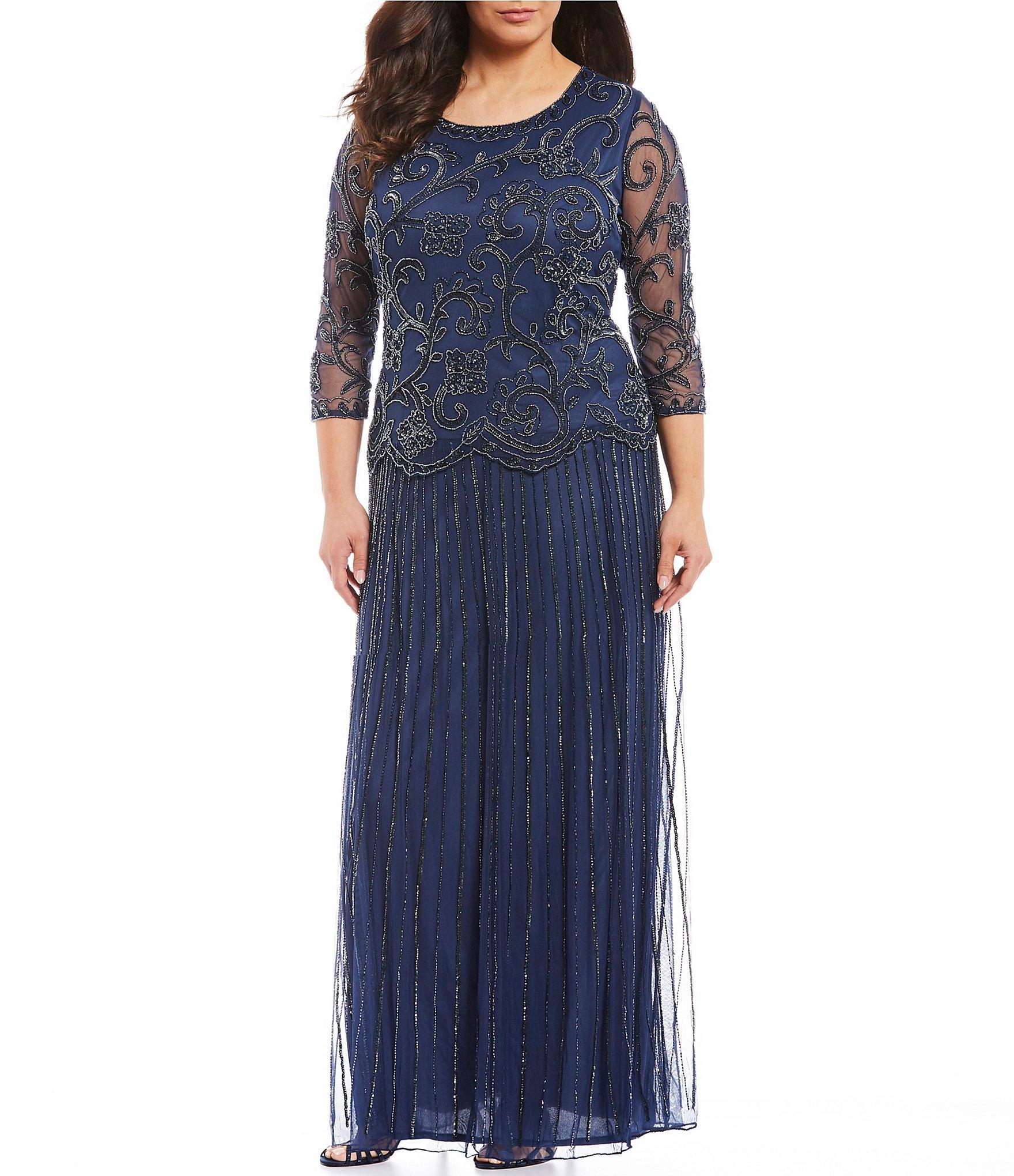 Plus Size Beaded Mock Two-piece Dress