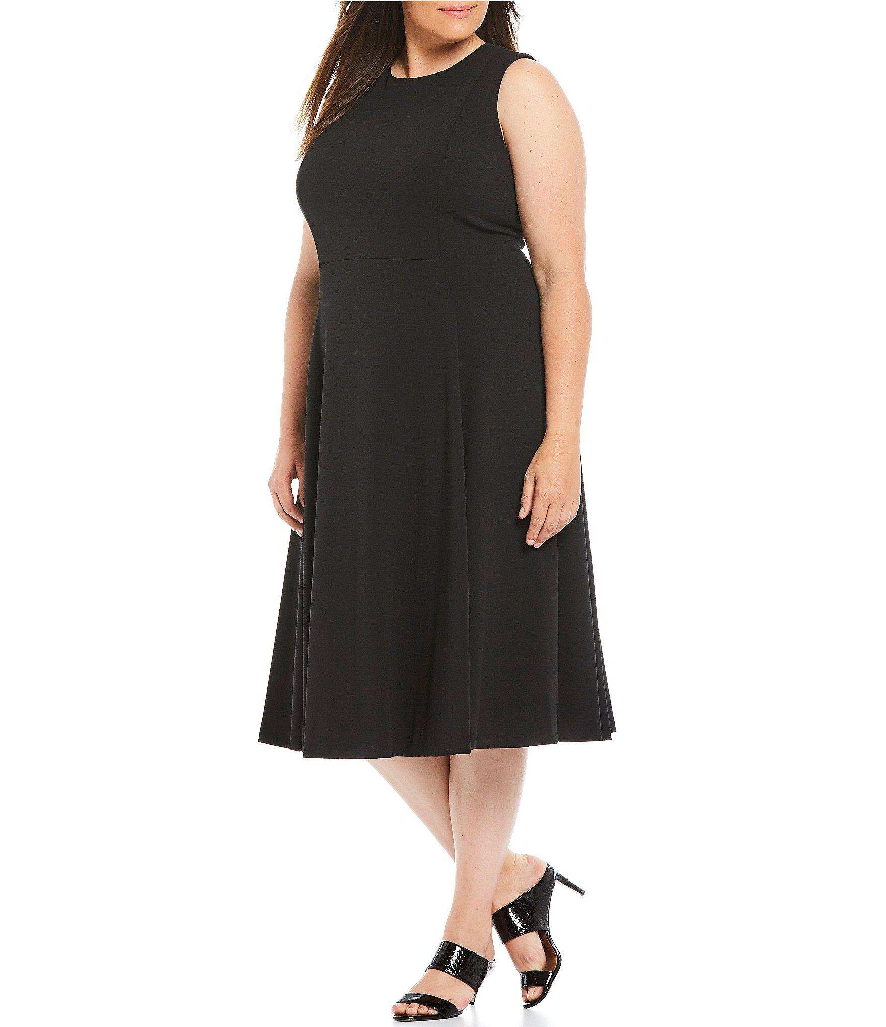 ab42fa1e Calvin Klein Plus Size Sleeveless A-line Midi Dress in Black - Lyst
