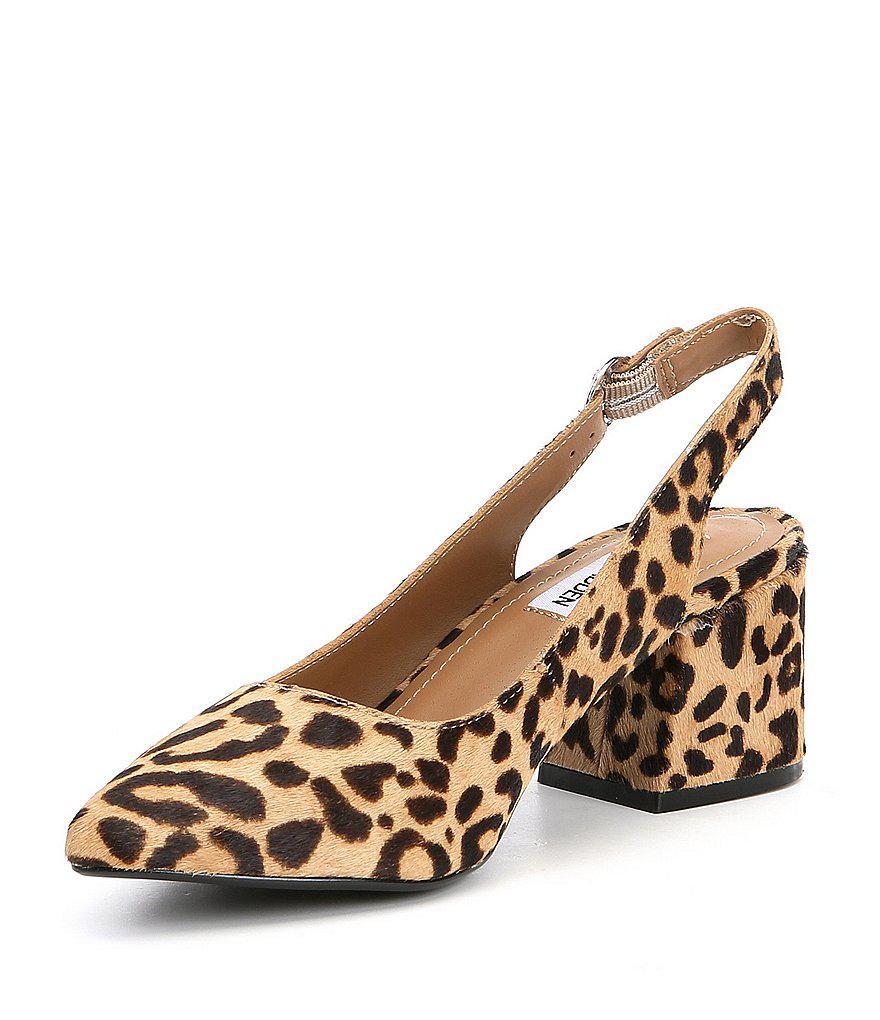 2951d80cc00 Steve Madden Brown Dizzy Leopard Print Calf Hair Slingback Block Heel Pumps