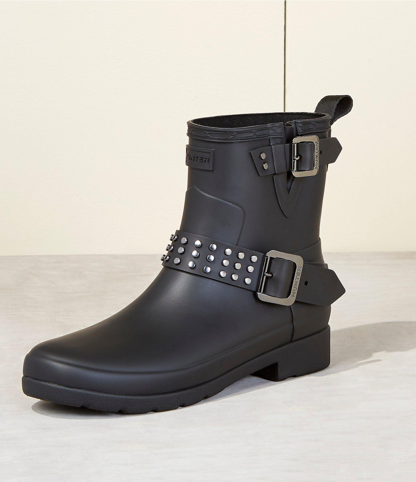 8af66ae5e557 Lyst - HUNTER Boots Refined Ankle Stud Biker Rain Boot in Black