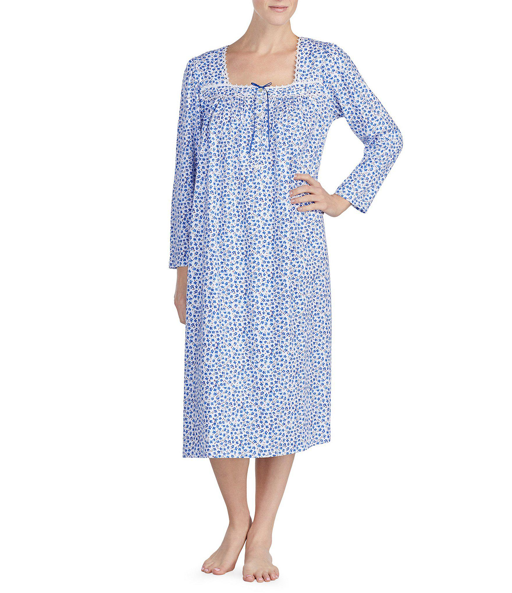 Lyst - Eileen West Printed Jersey Ballet Nightgown in Blue 8f2e1a614