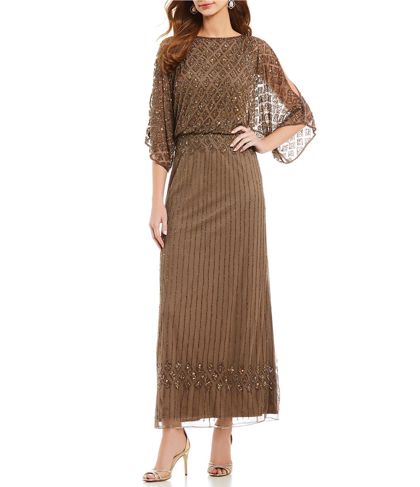 5db5876d81c5 Pisarro Nights Beaded Bodice Blouson Gown in Brown - Lyst