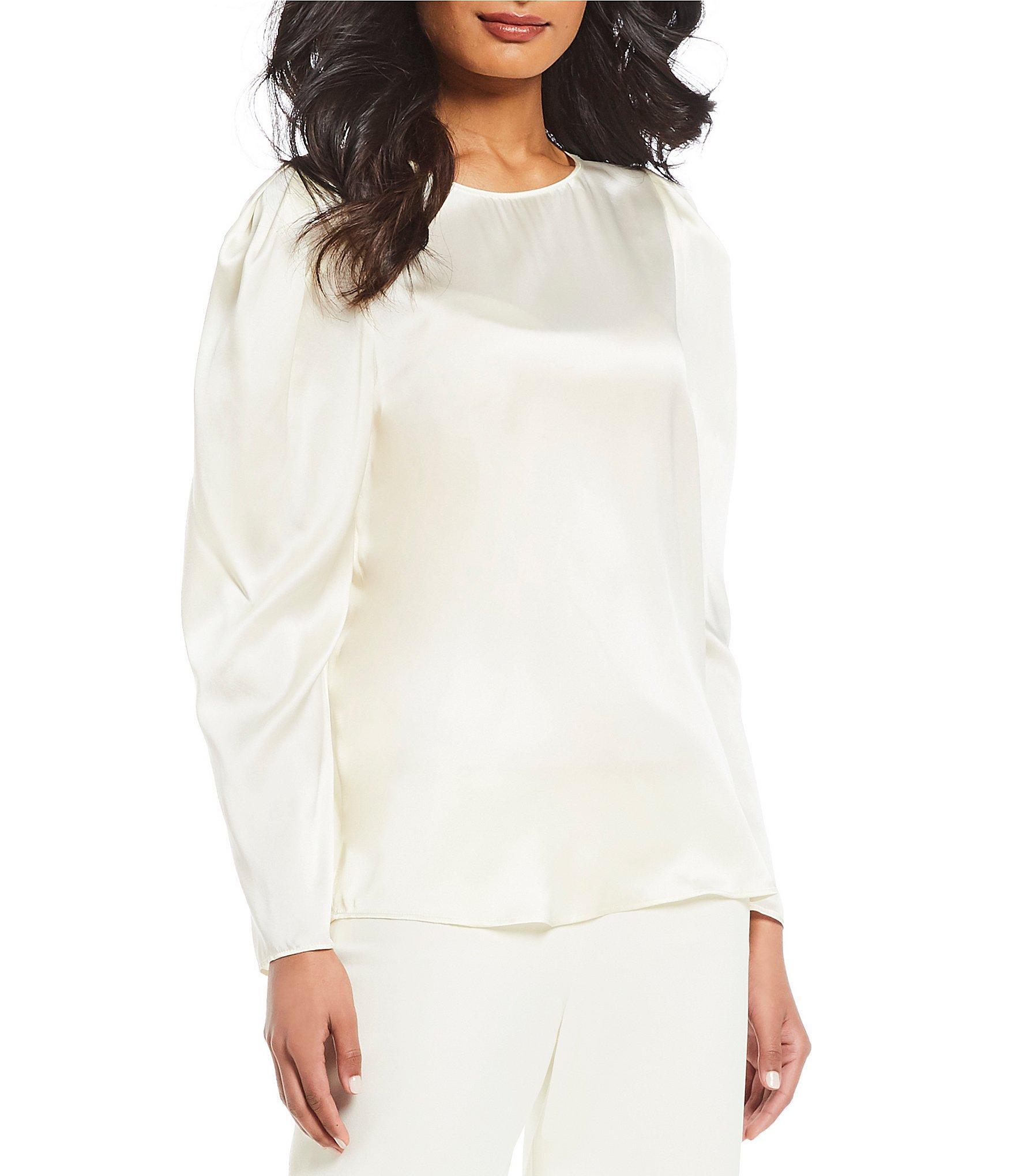 0b7ae4ea2c155d Lyst - Antonio Melani Sophie Puffed Statement Shoulder Silk Blouse ...