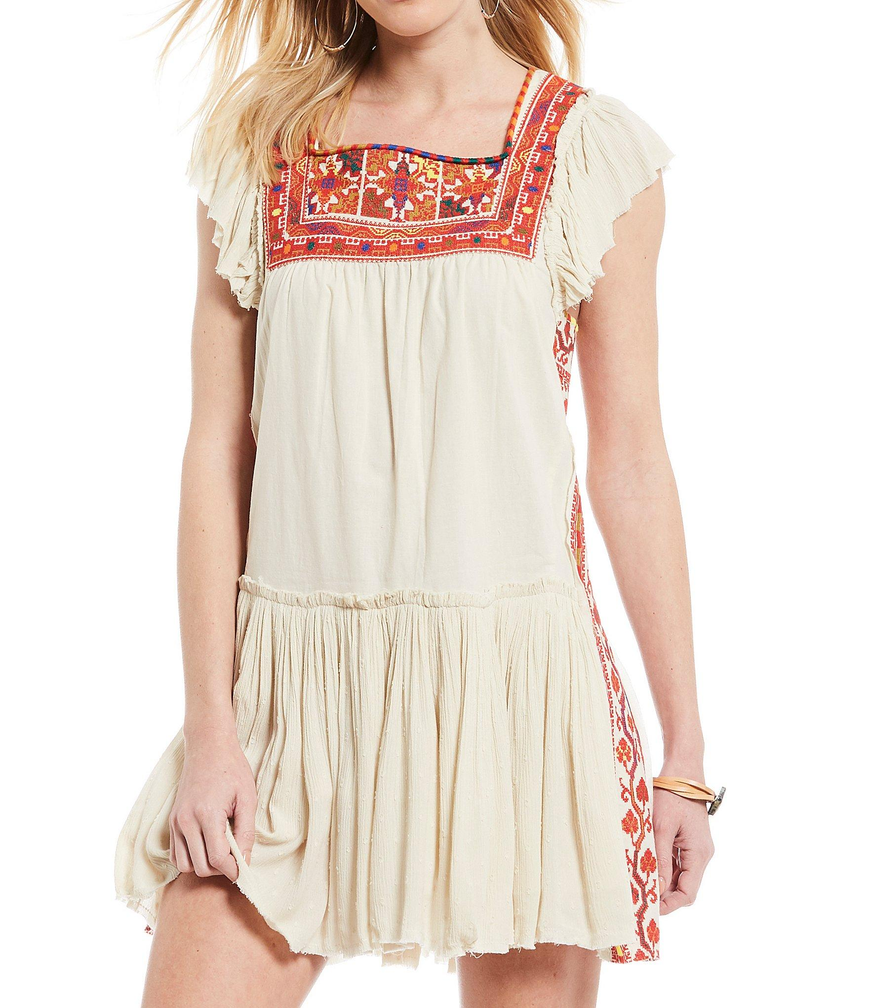 7b9e40a4a645 Free People - Multicolor Day Glow Embroidered Mini Shift Dress - Lyst. View  fullscreen