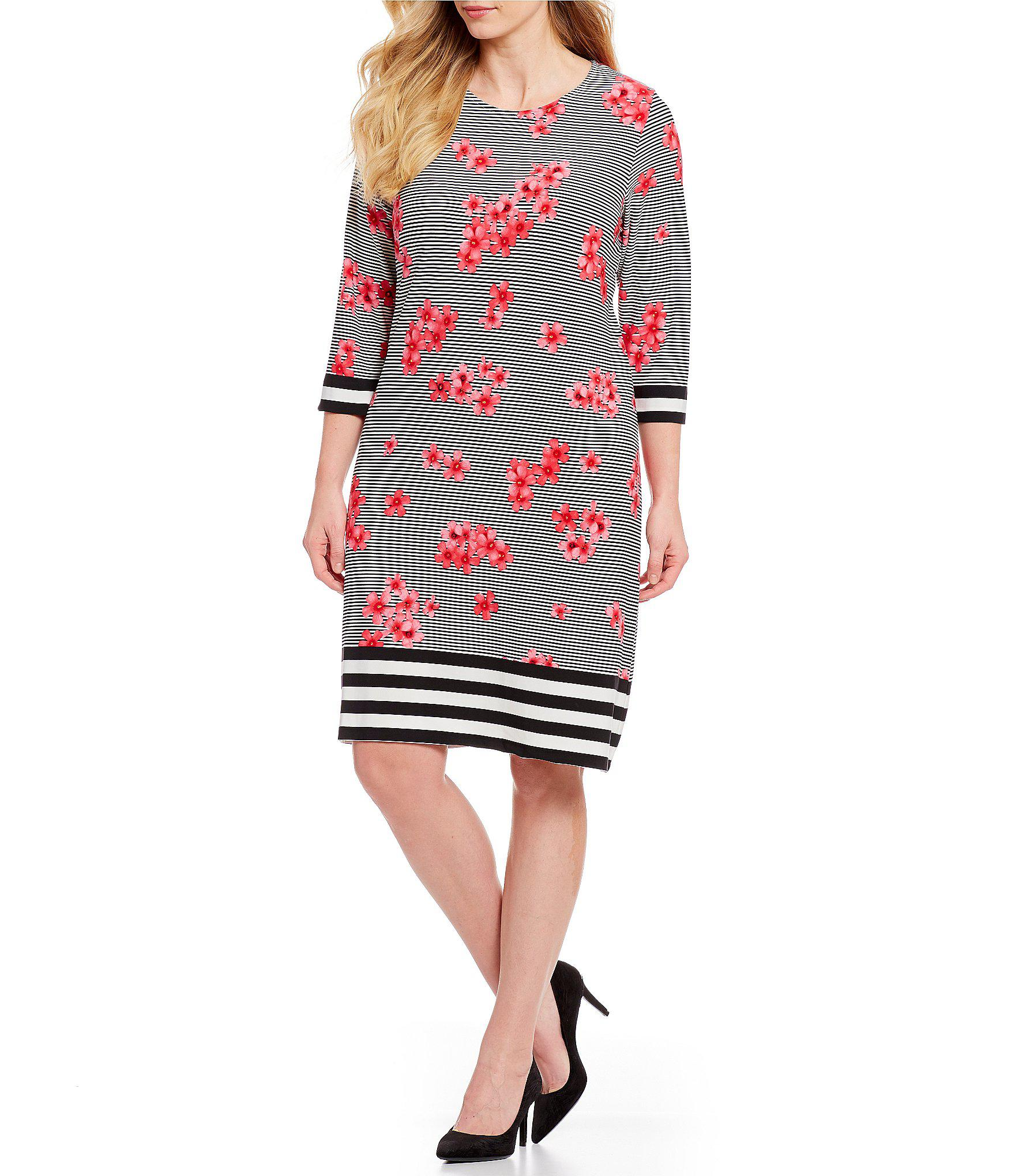 759457efddd Calvin Klein. Women s Plus Size Stripe Floral Print Sheath Dress