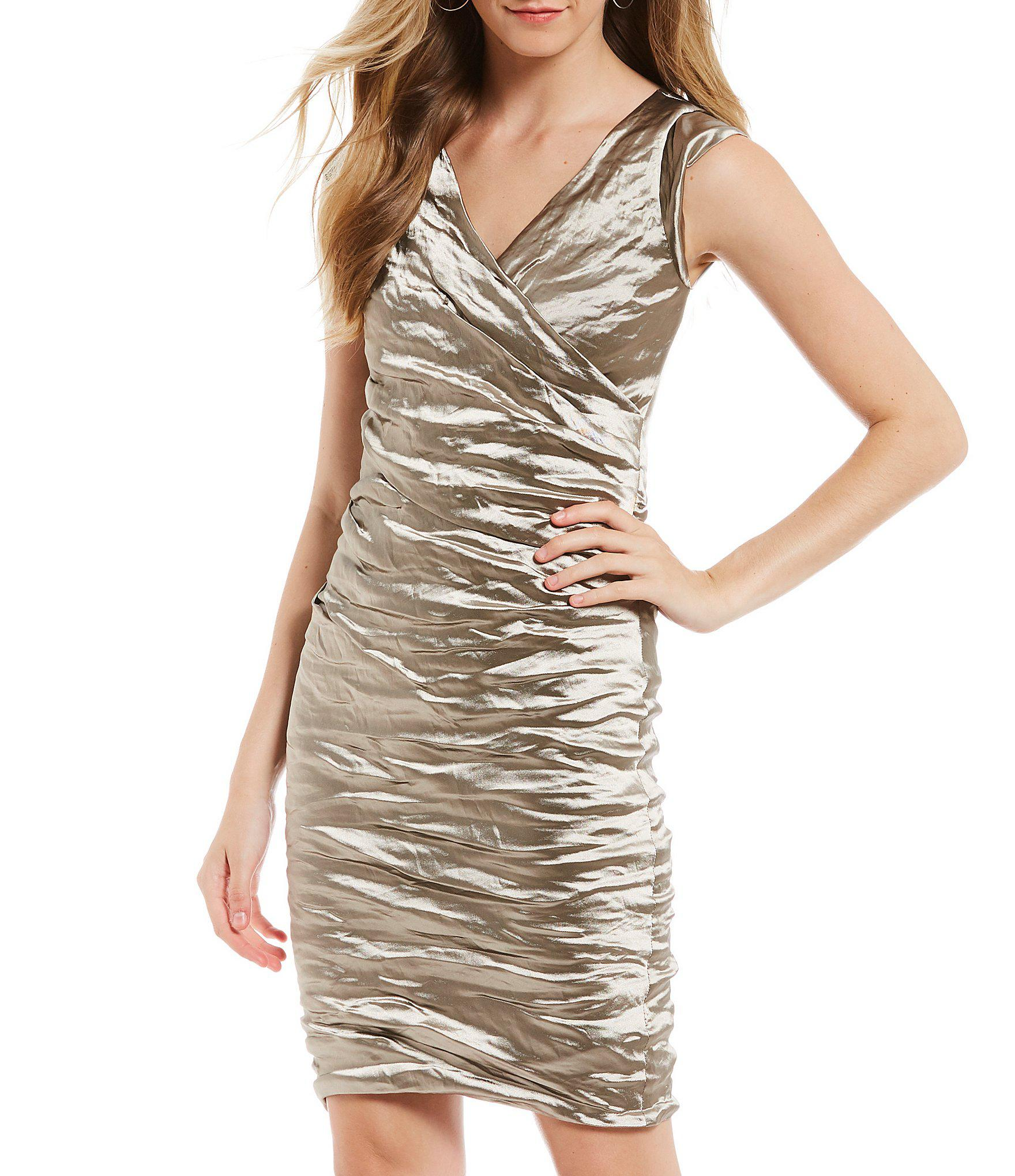 45bf2047 Lyst - Nicole Miller Artelier Beckett Techno Metal Sheath Dress