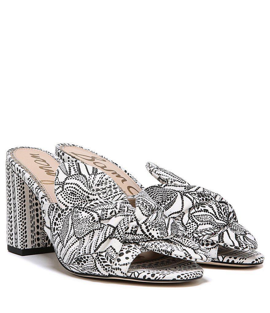 Sam Edelman Oda Linen Bow Detail Block Heel Mules M7SAj0JQ
