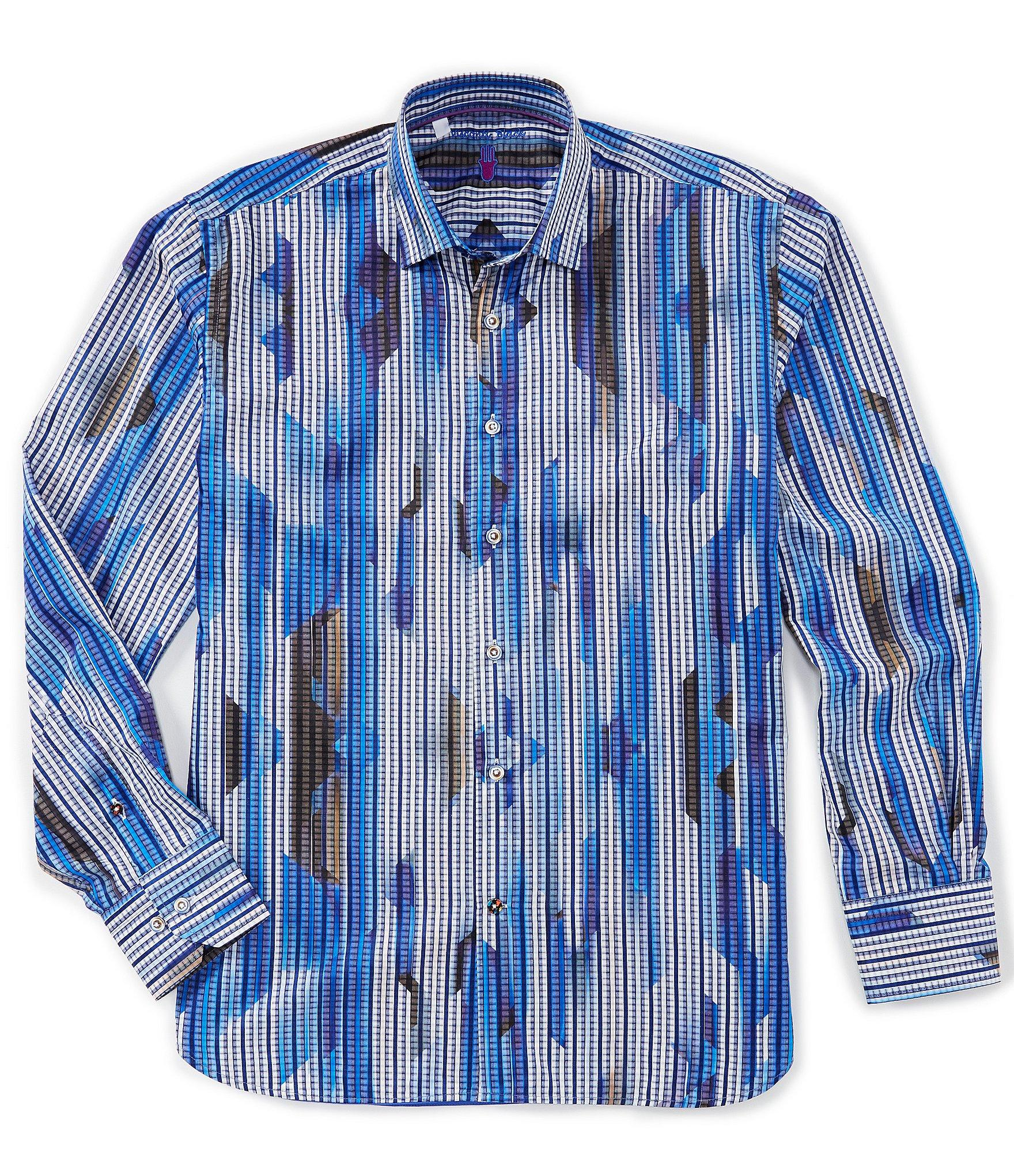 59817f77eea2f Visconti - Blue Jagged Stripe Long-sleeve Woven Shirt for Men - Lyst. View  fullscreen