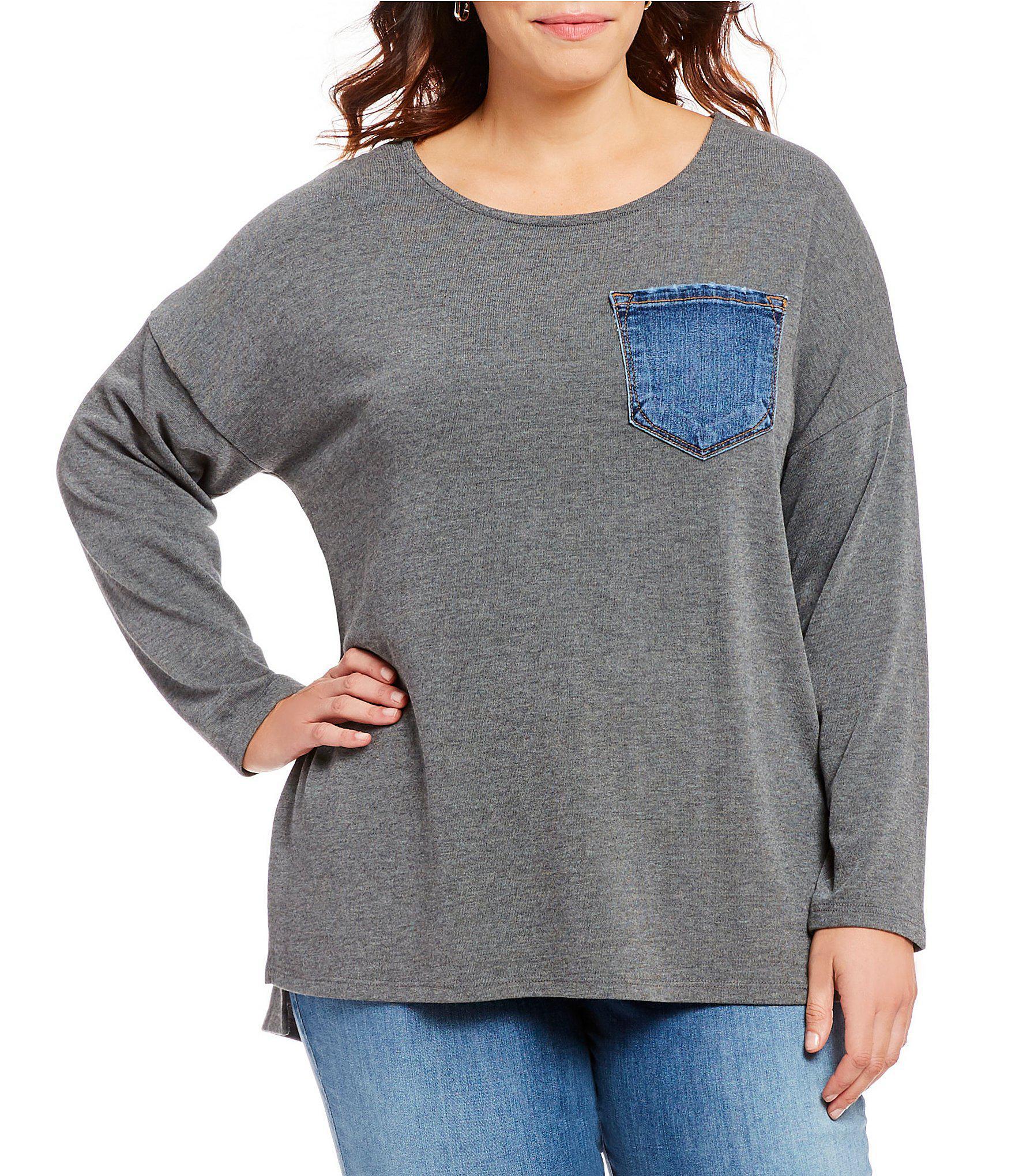 ddb9ba96413 Lyst - Karen Kane Plus Size Denim Pocket Knit Top in Gray