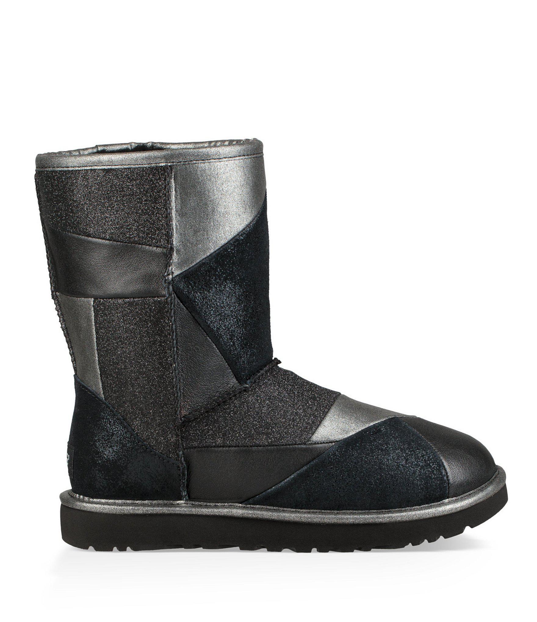 e7429ff91d6 Ugg Black Classic Glitter Patchwork Boots