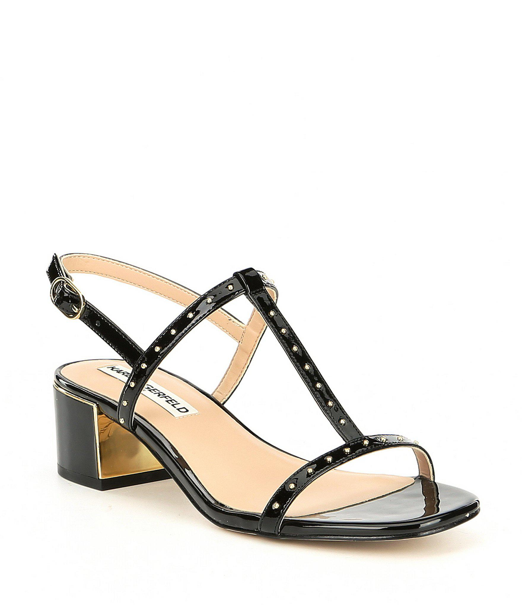1f408d5368a Lyst - Karl Lagerfeld Tineet Patent Leather Studded Block Heel Dress ...