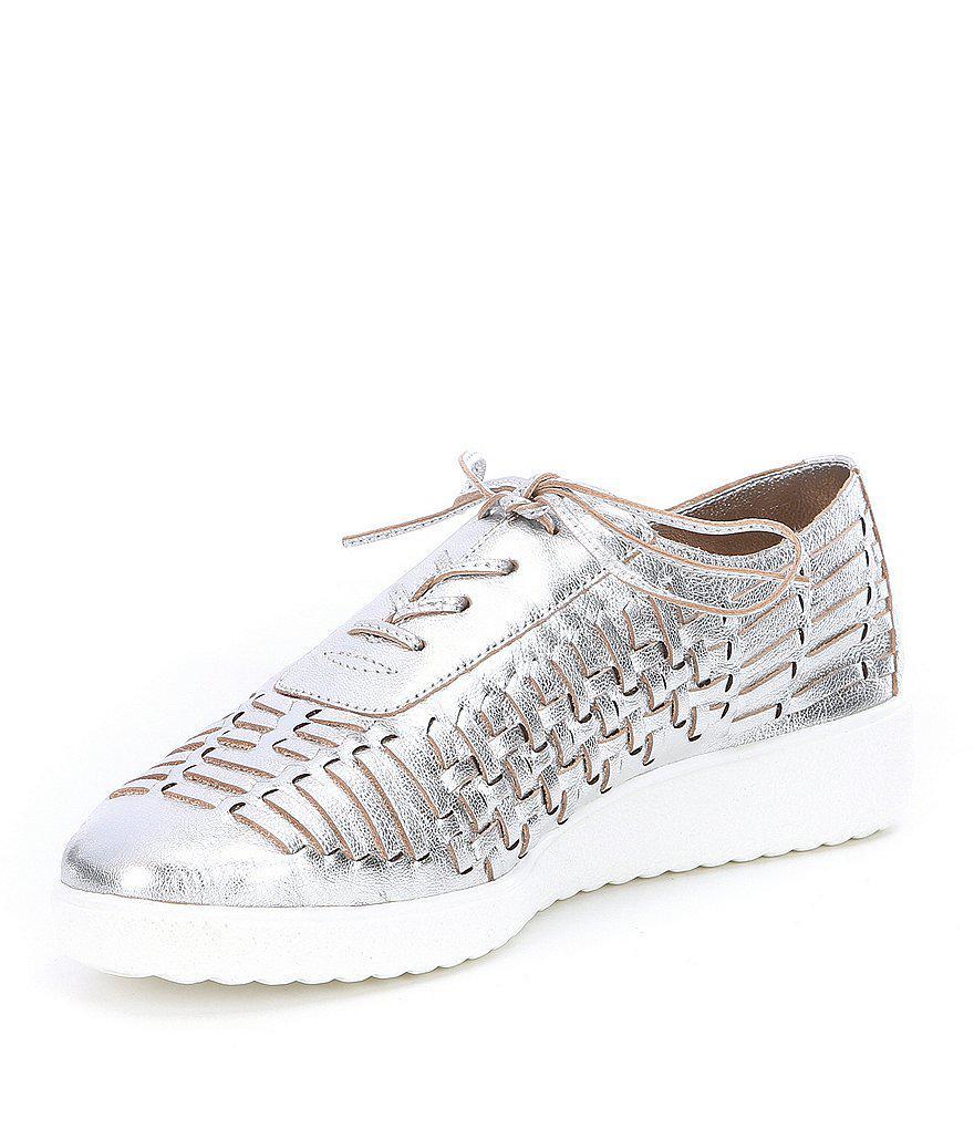 Freesiaa Metallic Leather Woven Sneakers 7HDOpdp9Q