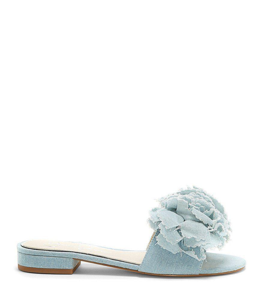 Jessica Simpson Caralin Floral Chiffon Slide Block Heel Sandals X3vhw