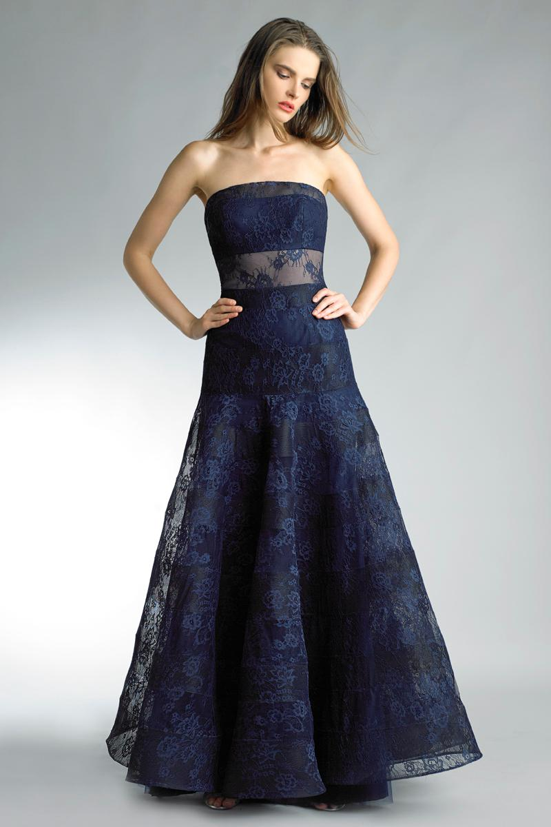 Lyst - Basix Black Label Navy Blue Strapless Evening Gown in Blue