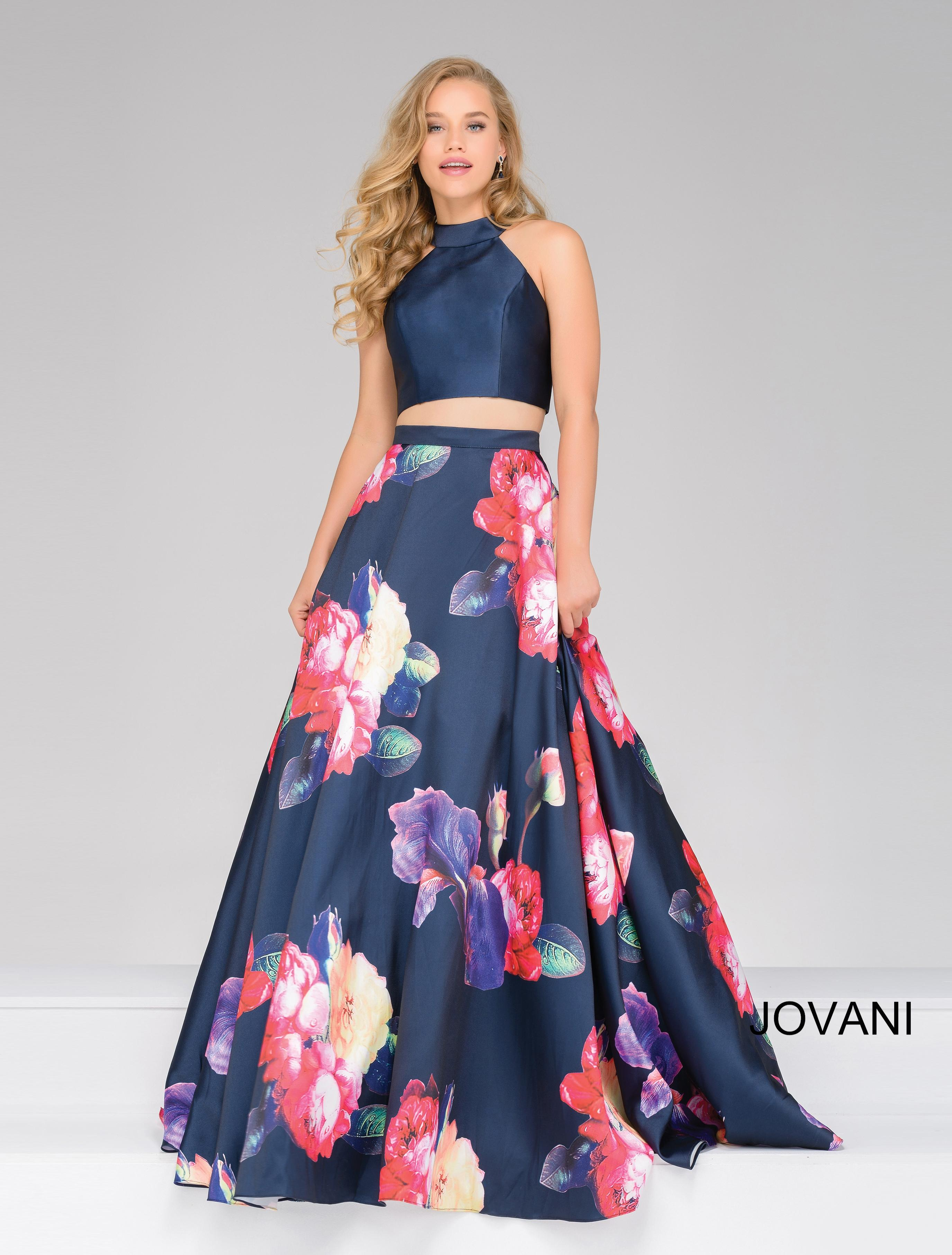 Lyst - Jovani Two-piece Floral Ball Gown in Blue