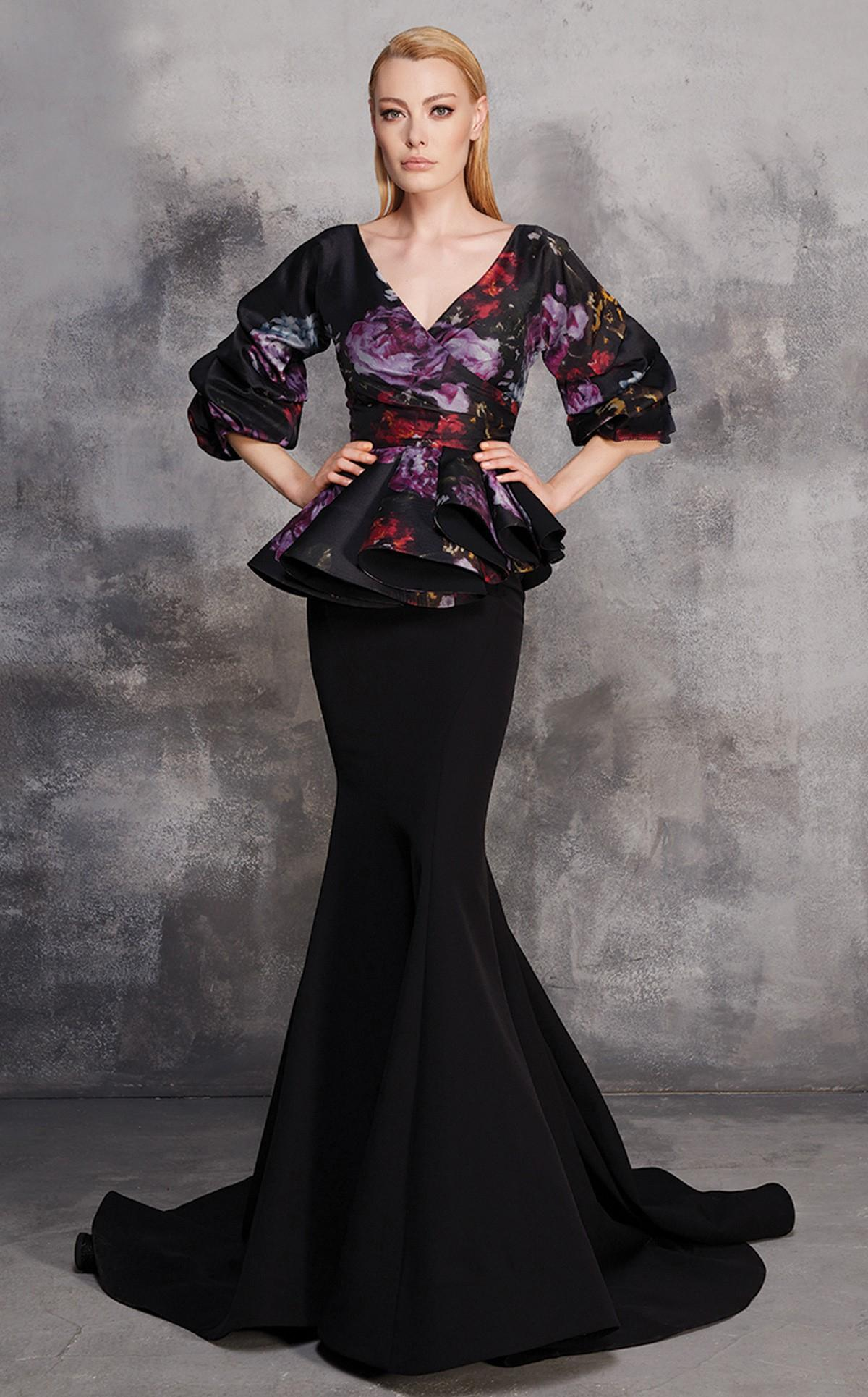 Lyst - Mnm Couture Black Floral Peplum Evening Gown in Black
