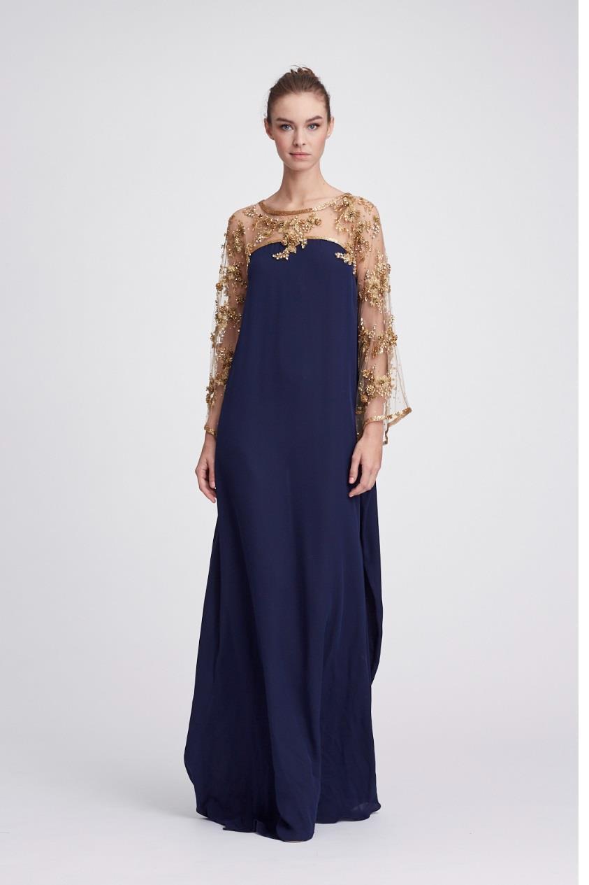 e6fe443d97 Lyst - Marchesa Resort 2018-19 Couture Georgette Caftan Gown in Blue