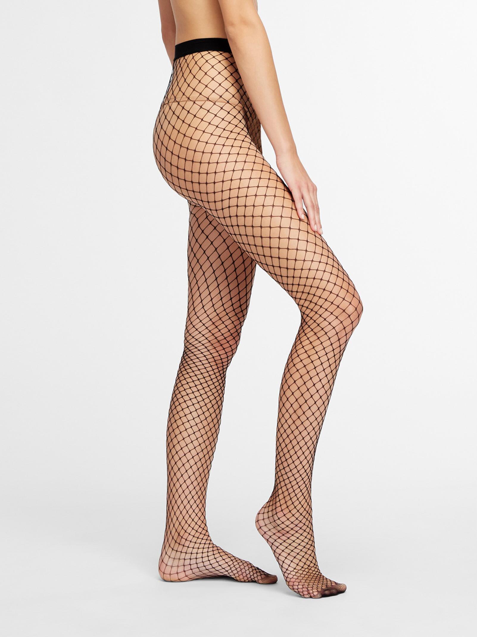 DKNY Women/'s Softest Fishnet Tight Black