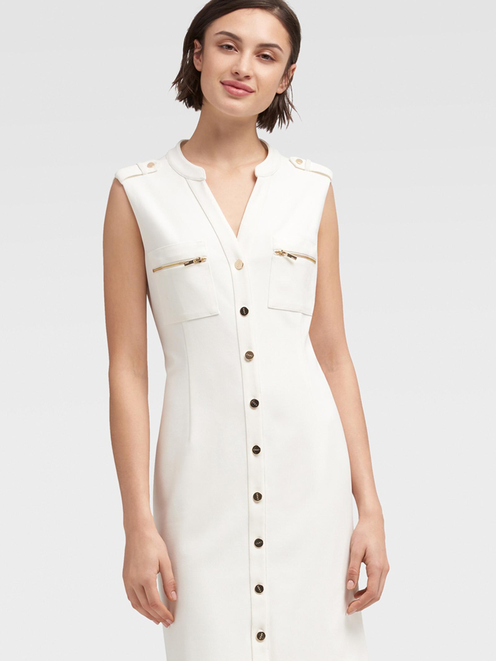 low priced reputable site store DKNY Button Down Sleeveless Sheath Dress in Cloud (White) - Save ...