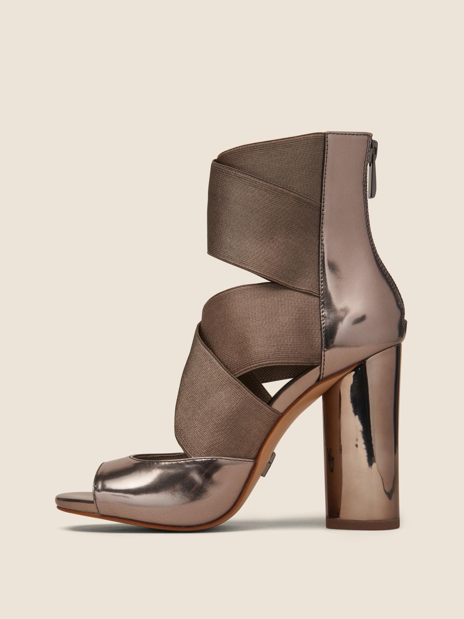 2f517c785da Lyst - DKNY Briana Multi-strap Heeled Leather Sandal in Brown