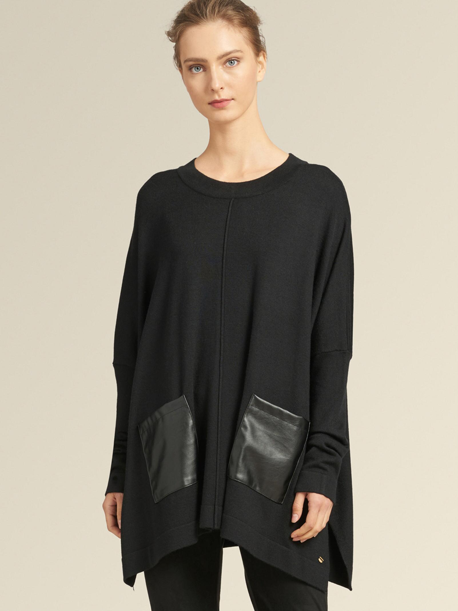 ffb69c51ccc Lyst - DKNY Oversized Pullover With Faux-leather Detail in Black