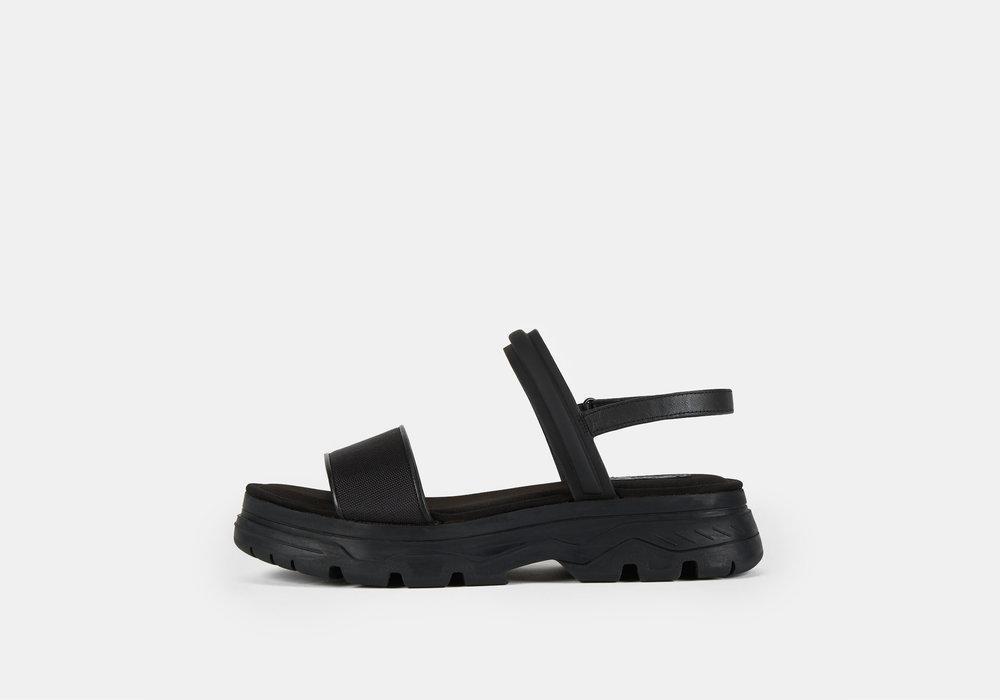 daa1d94c8ba4 Lyst - DKNY Addie Multi Strap Lug Sandal in Black