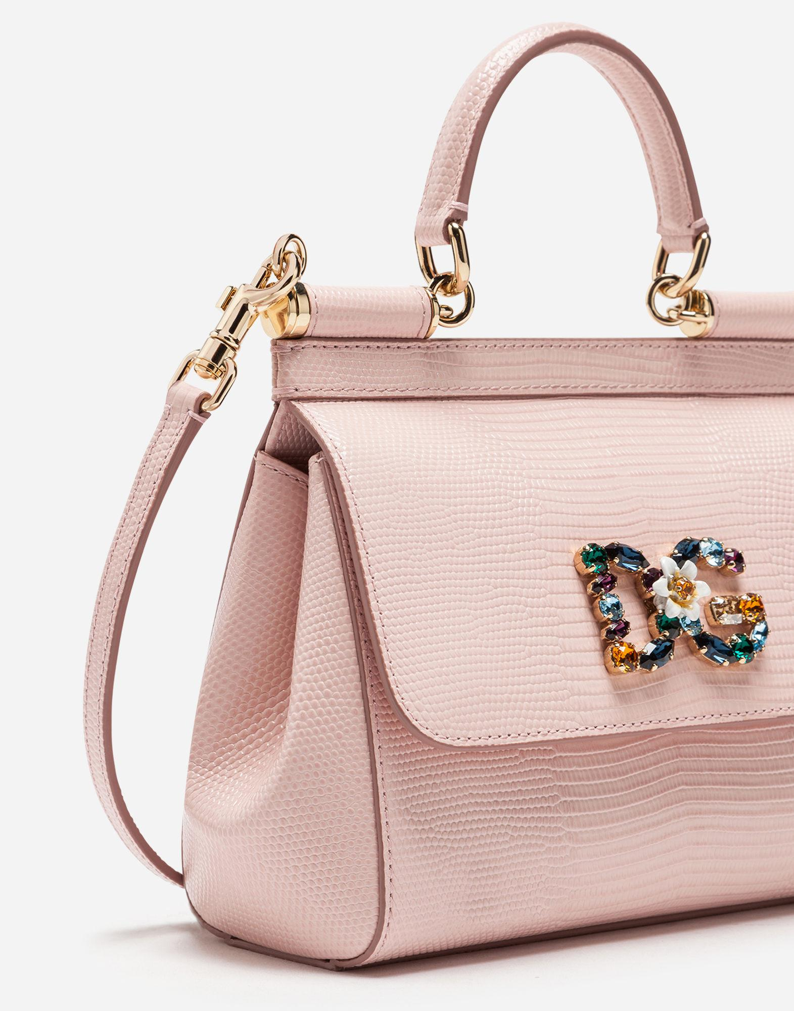 Lyst - Dolce   Gabbana Small Calfskin Sicily Bag With Iguana-print And Dg  Crystal Logo Patch in Pink 3f08fff8ba