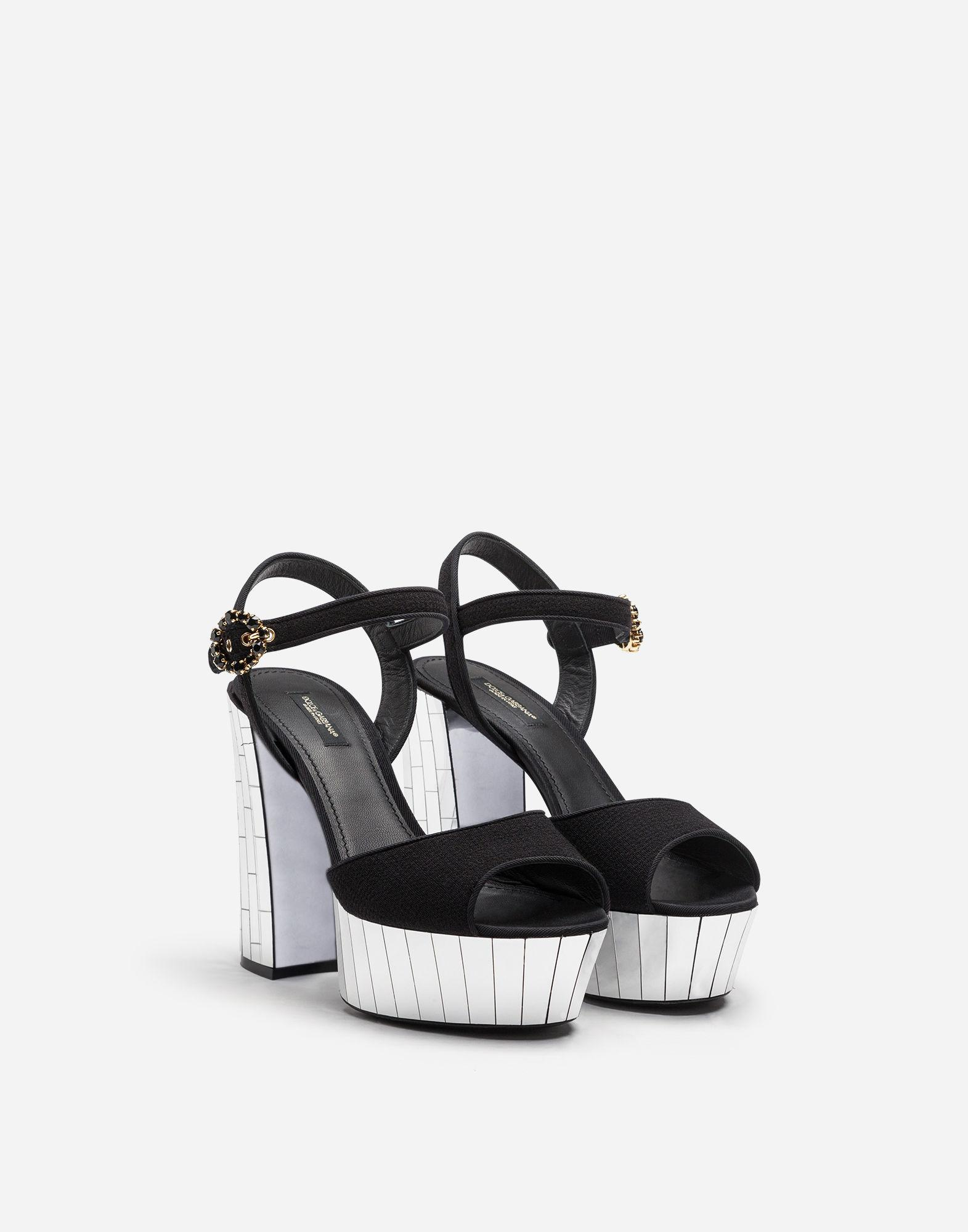 6a7276b0b4df8 Lyst - Dolce   Gabbana Wool Crepe And Gros Grain Sandals With Mirrored  Mosaic Platform in Black