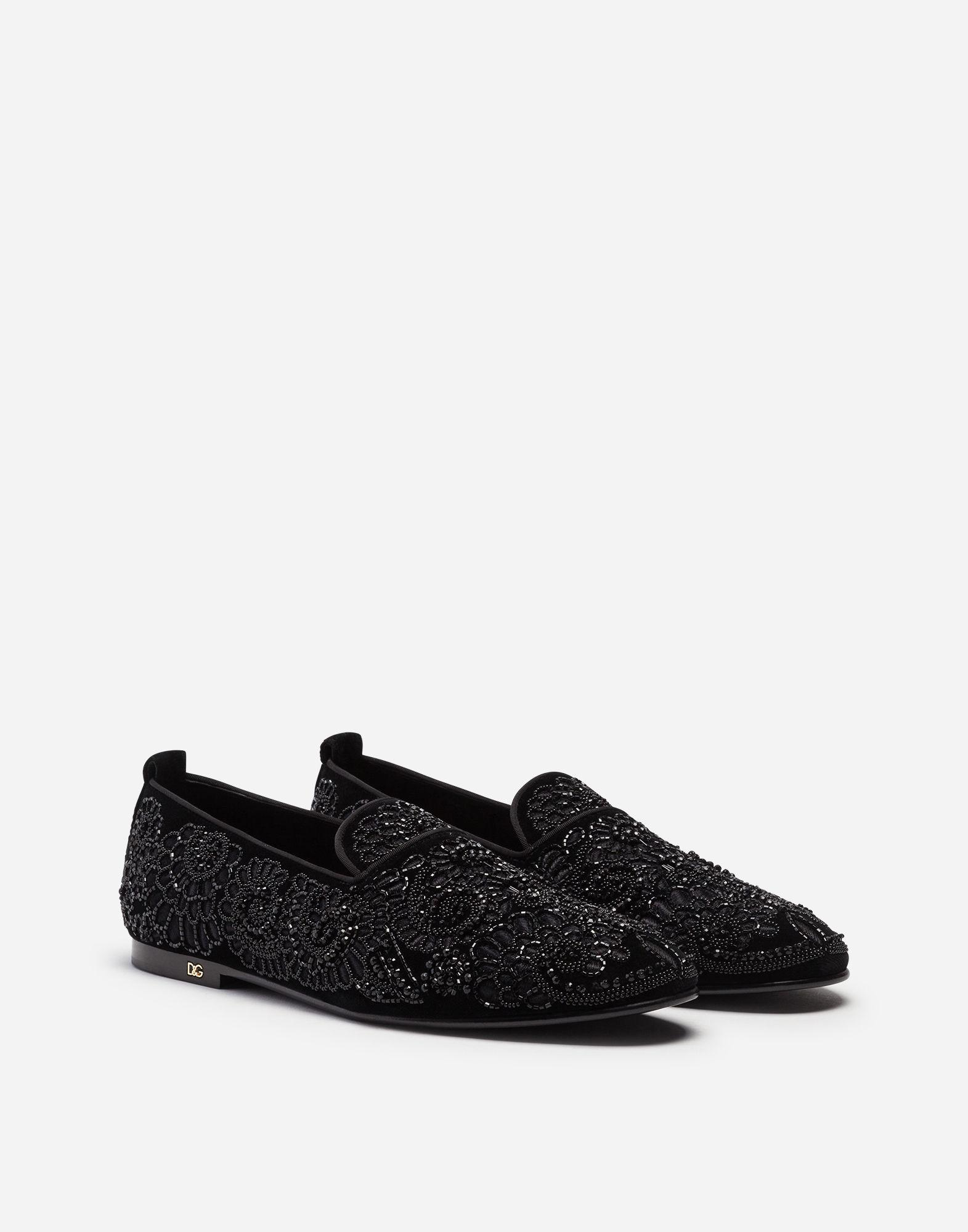 8c72ee7d4f9 Lyst - Dolce   Gabbana Velvet Loafers With Embroidery in Black