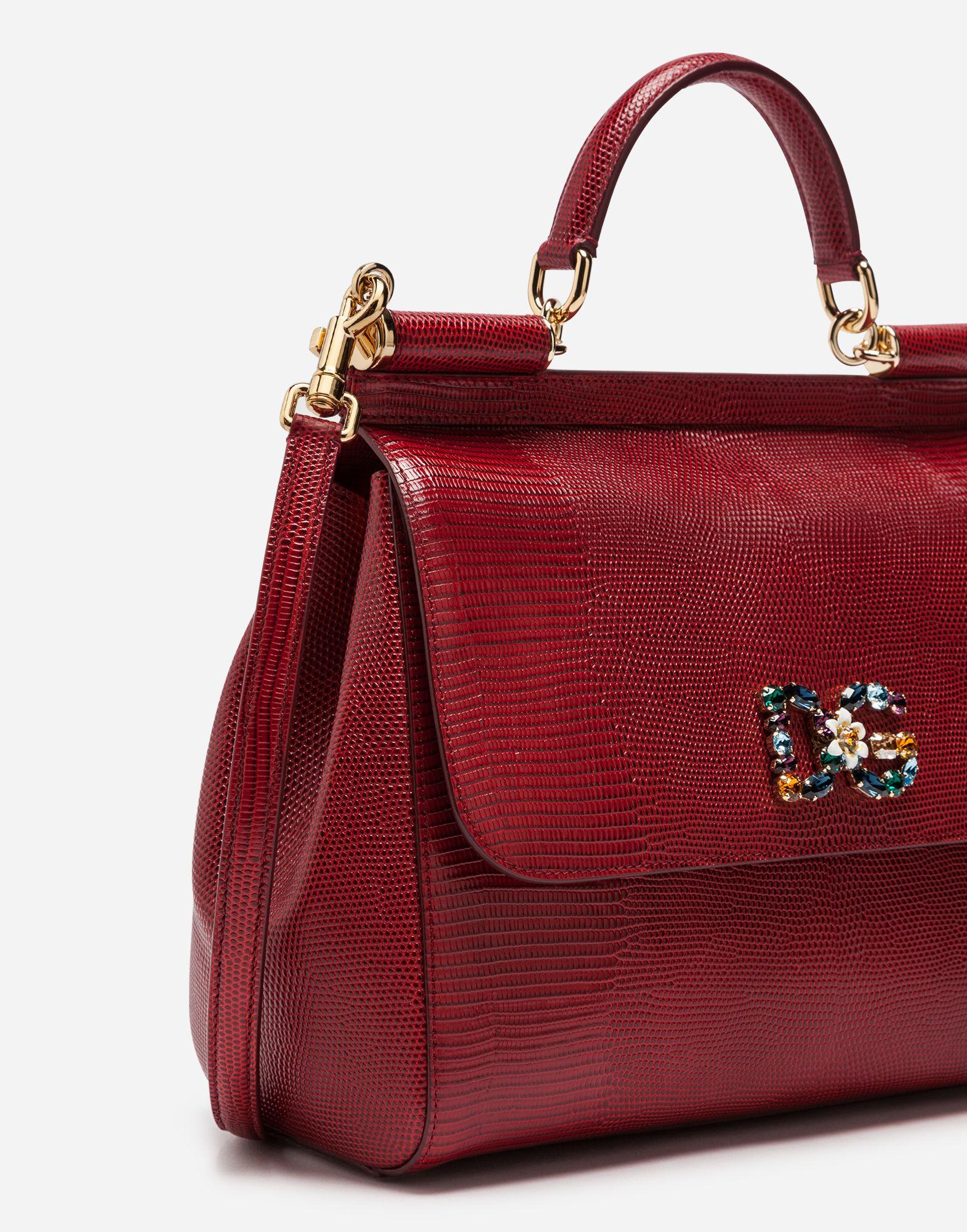 Lyst - Dolce   Gabbana Sicily Handbag In Iguana Print Calfskin And Crystal  Dg Logo Patch in Red de72a9e1fc48f