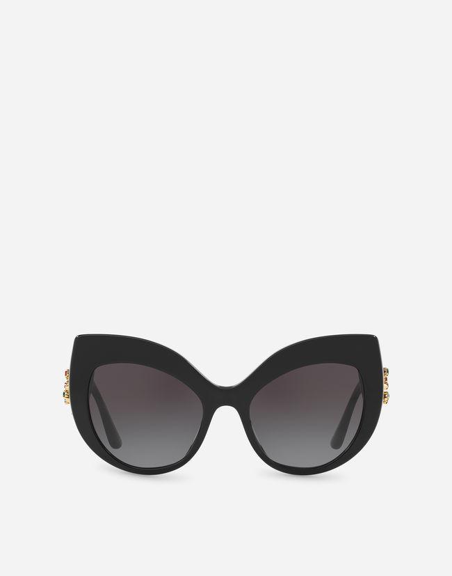 2cdf219a4f ... Black Gafas De Sol Dg Strass - Lyst. Ver en pantalla completa