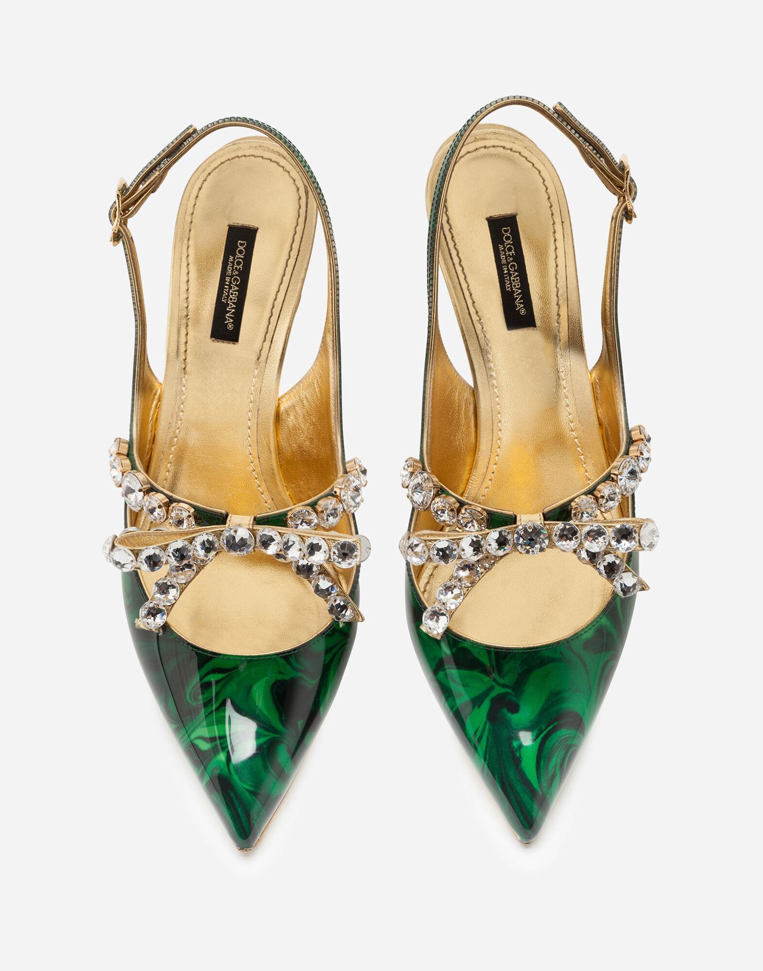 Zapatos Destalonados De Charol Con Malaquita Estampada Y Joya Dolce & Gabbana de color Verde
