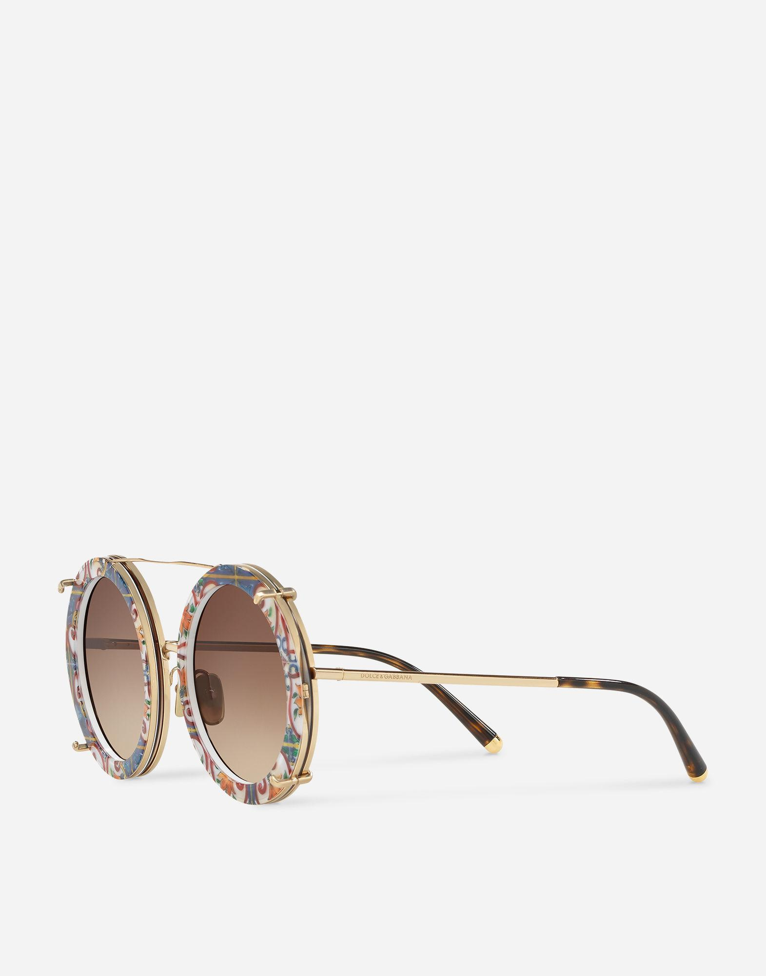 6c5ffc9142c Lyst - Dolce   Gabbana Round Clip-on Sunglasses In Gold Metal In Majolica  Print in Metallic