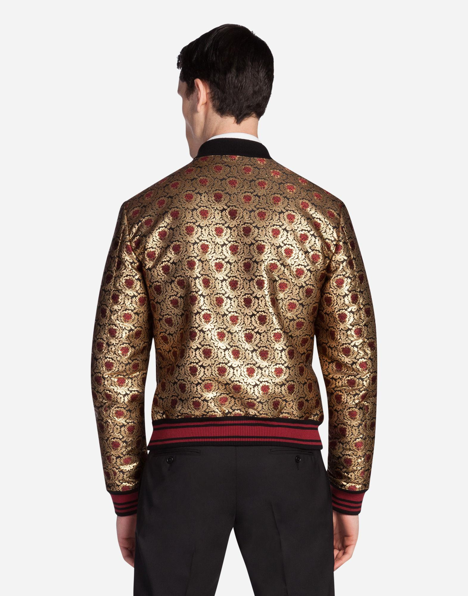 Dolce & Gabbana Synthetic Jacquard Bomber Jacket in Gold (Metallic) for Men